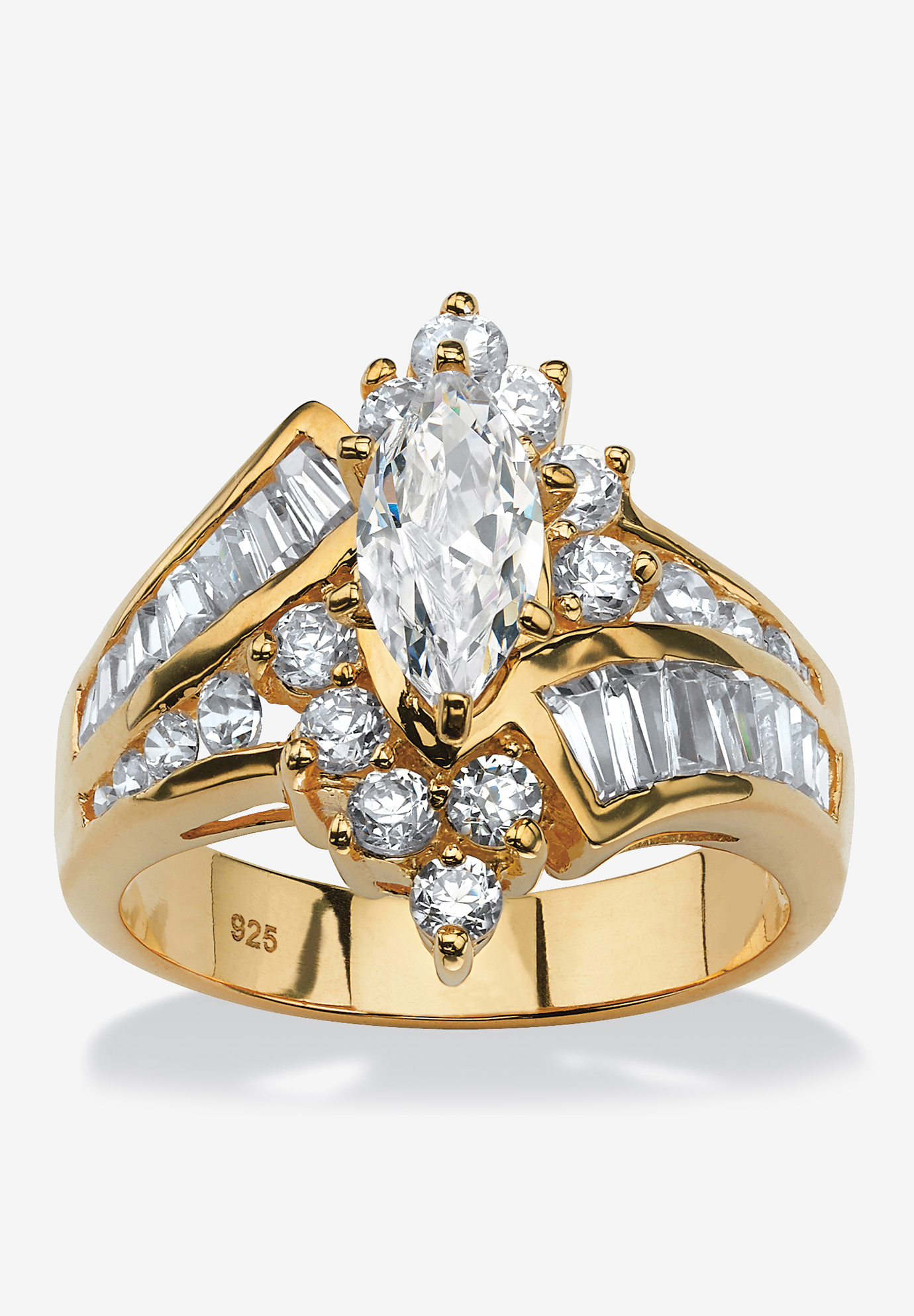 Gold over Sterling Silver Marquise Engagement Ring Cubic Zirconia,