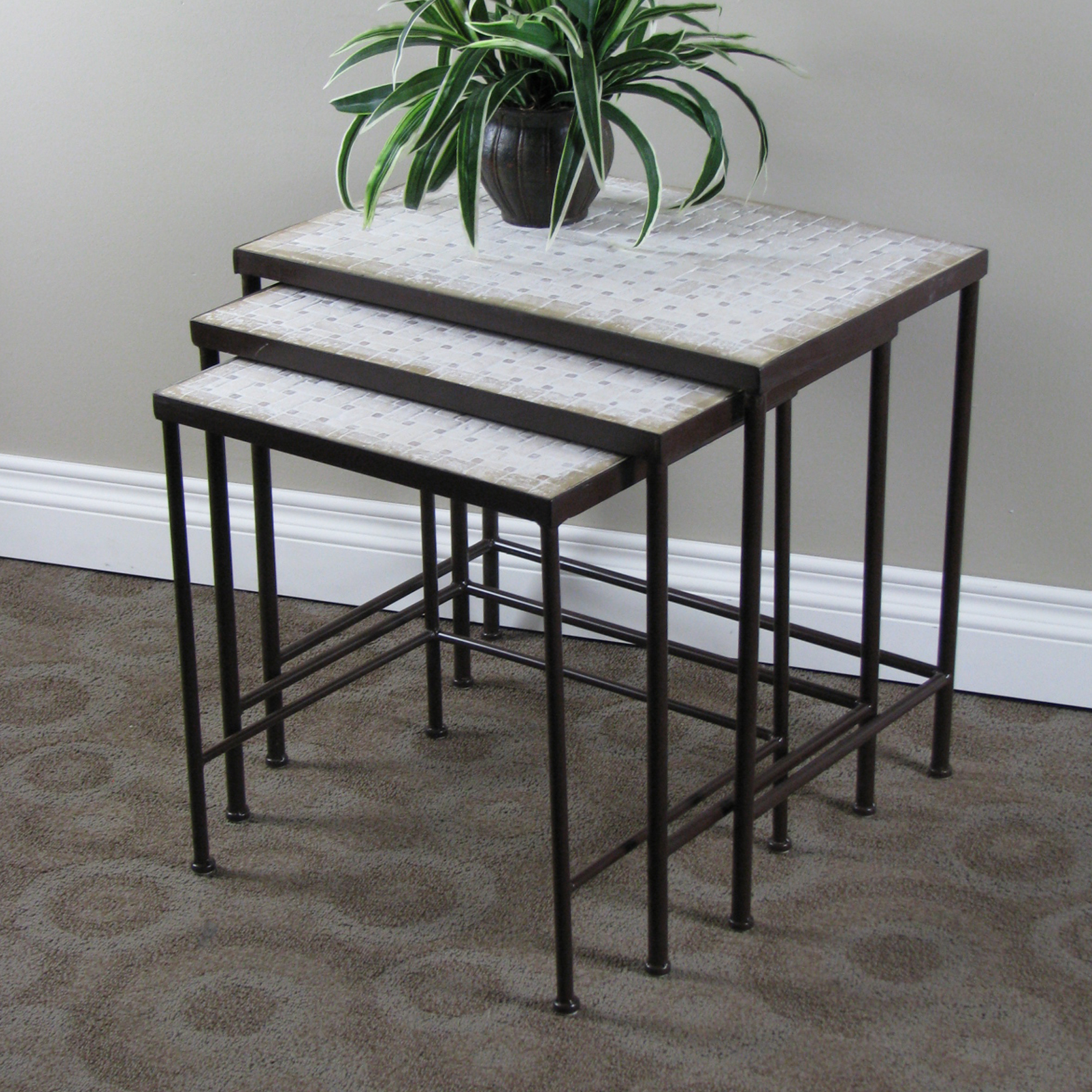 3-Pc. Travertine Nesting Tables , RUSTIC BRONZE
