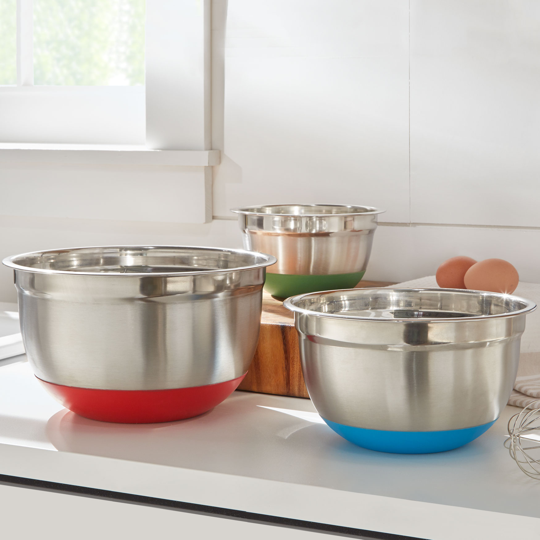 Non-Skid Mixing Bowls, Set of 3, STAINLESS