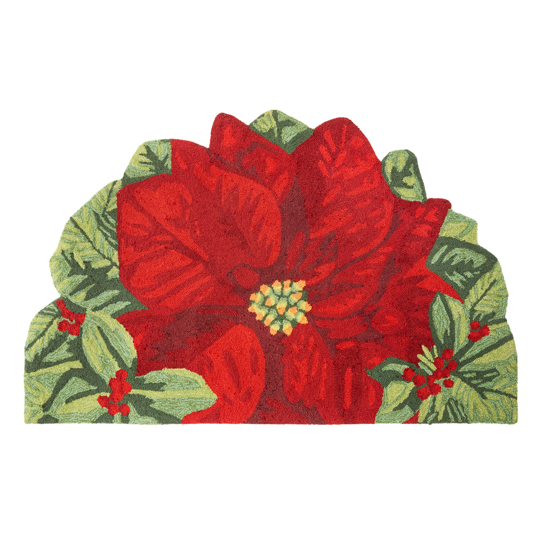 Large Half-Round Poinsettia Mat , MULTI