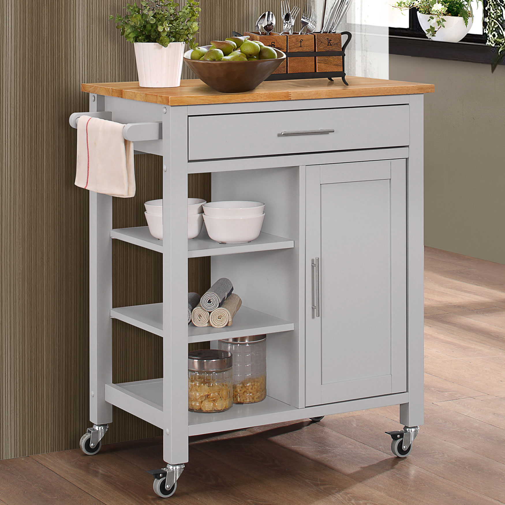 Gray Kitchen Cart, GRAY NATURAL