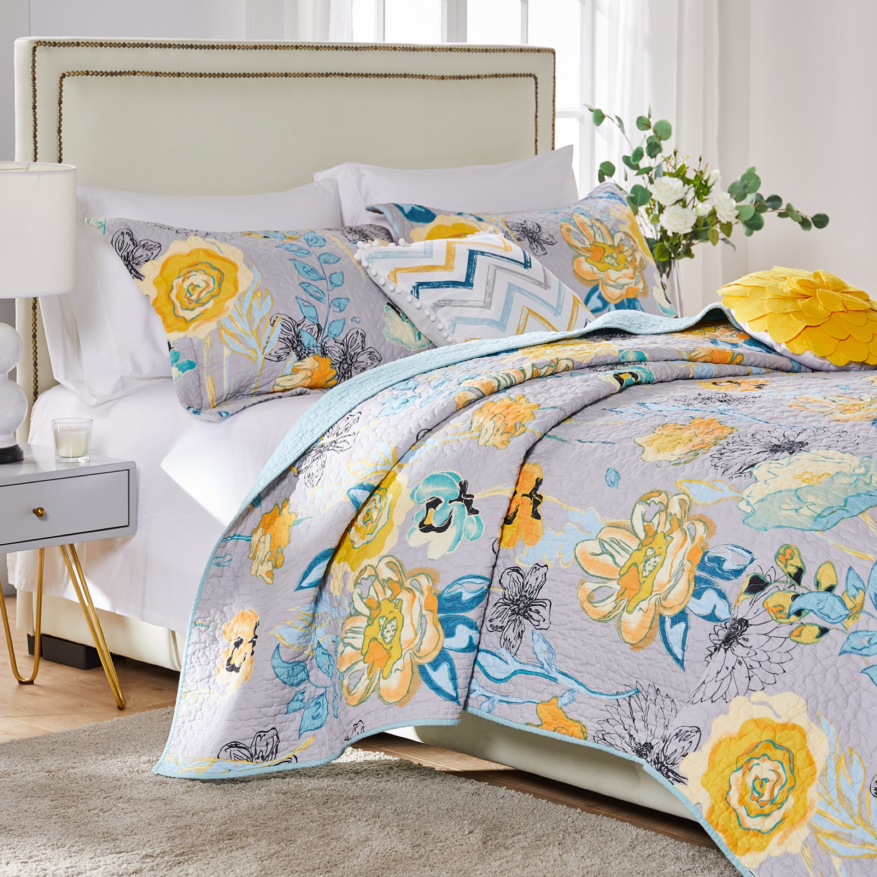 Watercolor Dream Gray Quilt Set ,