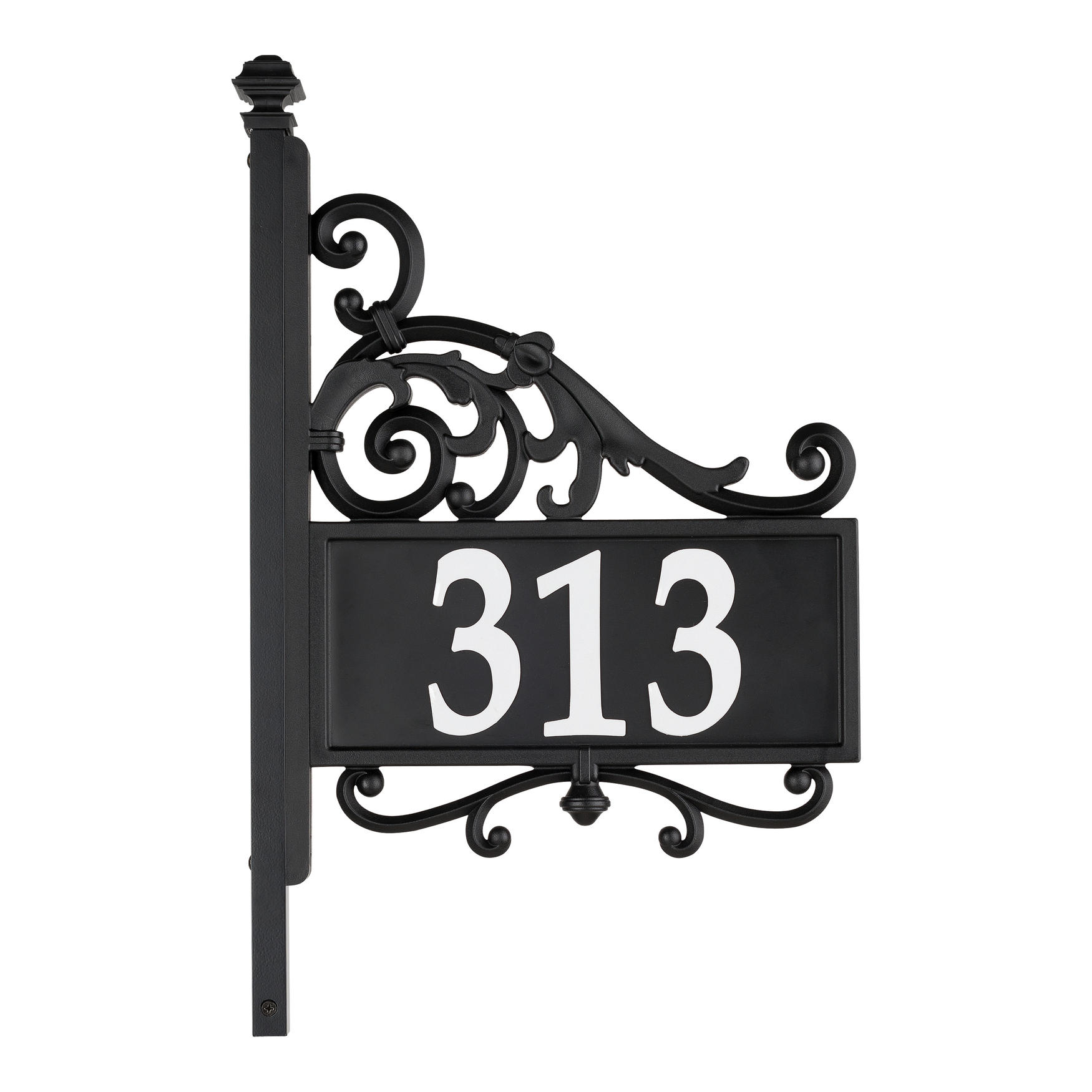 Nite Bright Acanthus Reflective Address Post Sign, BLACK WHITE