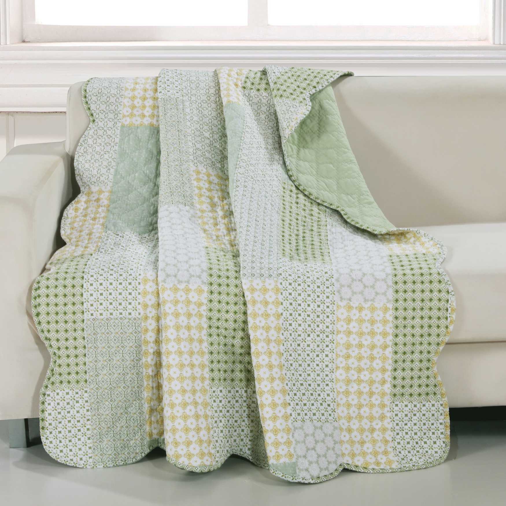 Barefoot Bungalow Juniper Quilted Throw Blanket, SAGE