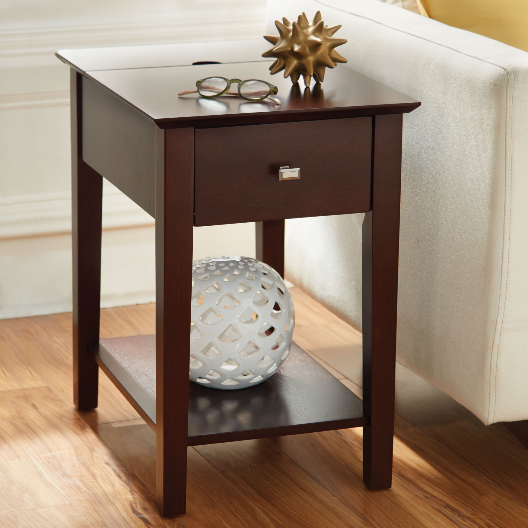 Multi-Function Side Table, WALNUT FINISH