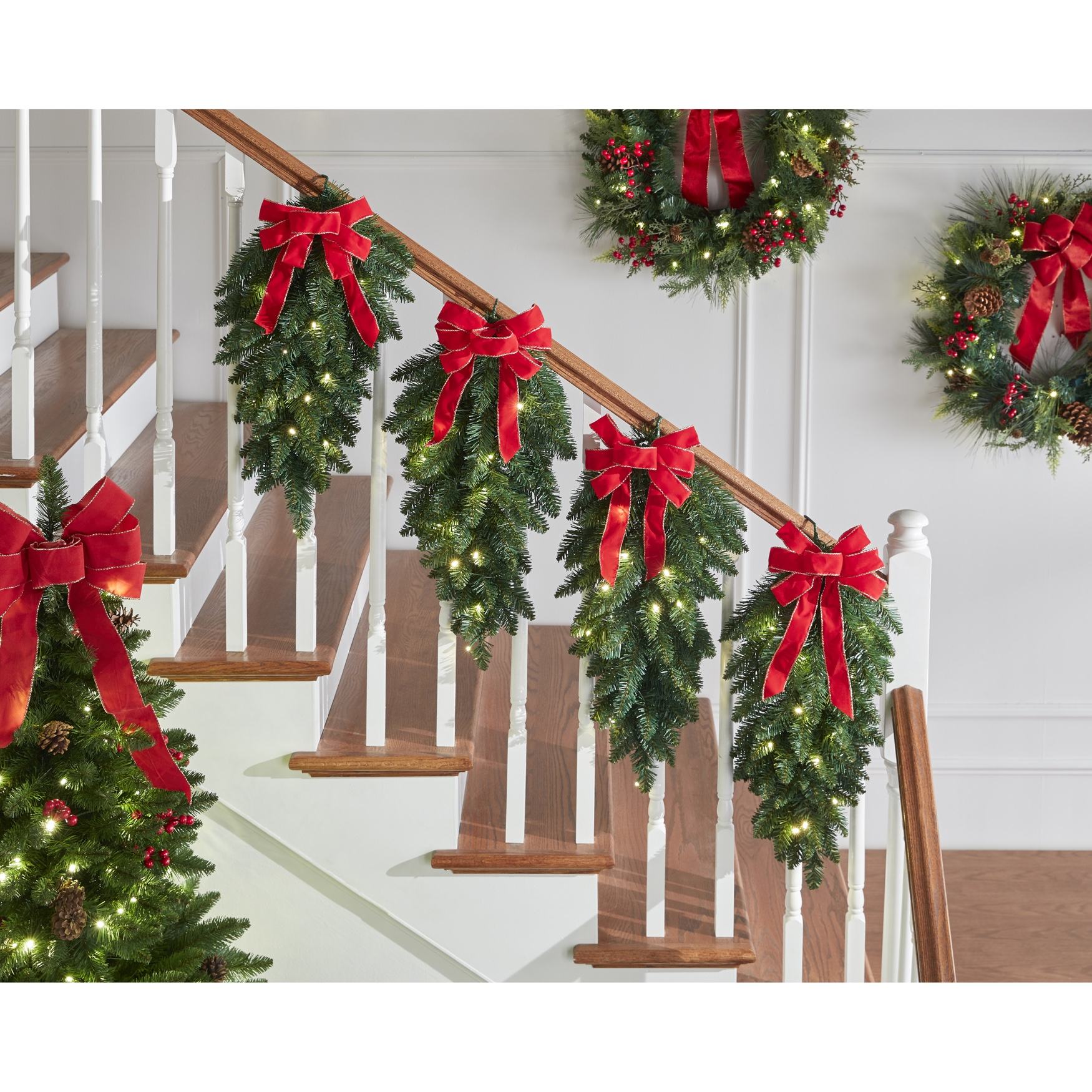 Pre-Lit Stair Swags, Set of 4, GREEN RED