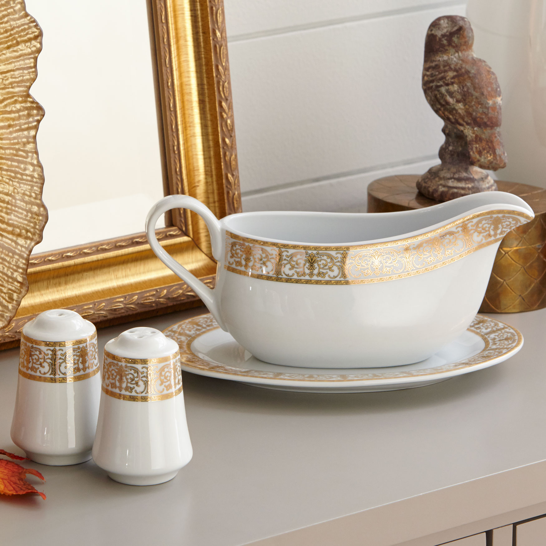 Medici 4-Pc. Porcelain Serving Set, GOLD WHITE