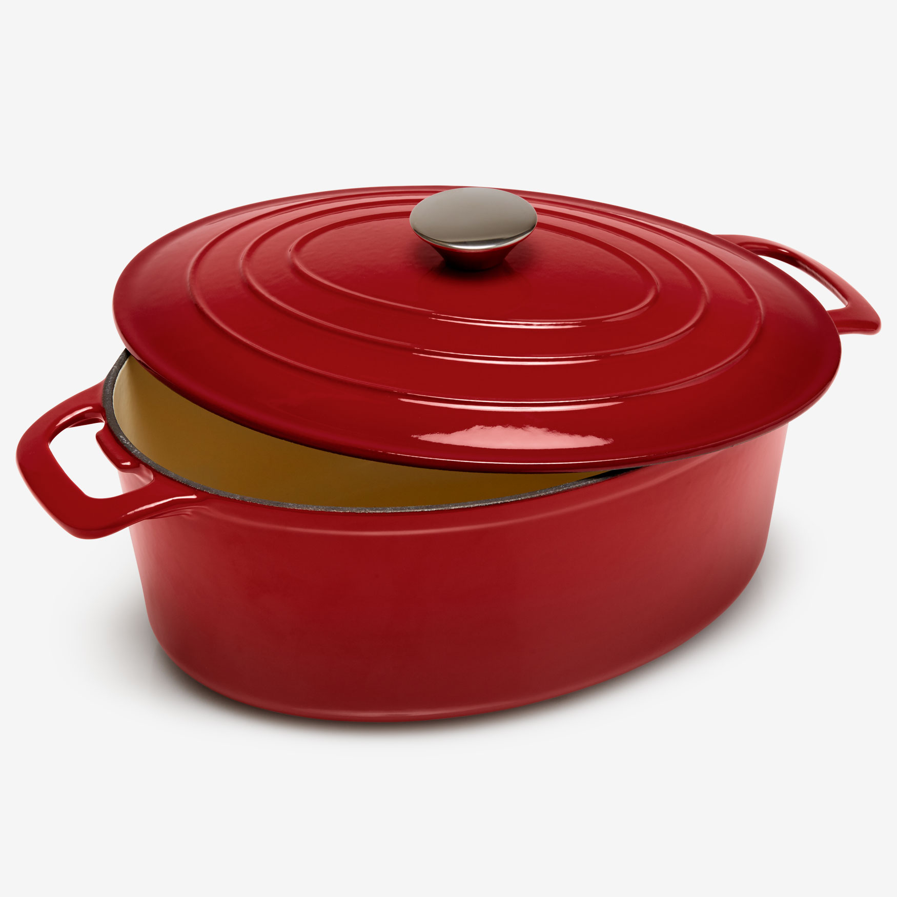 6-Lt. Cast Iron Enameled Oval Casserole, RED