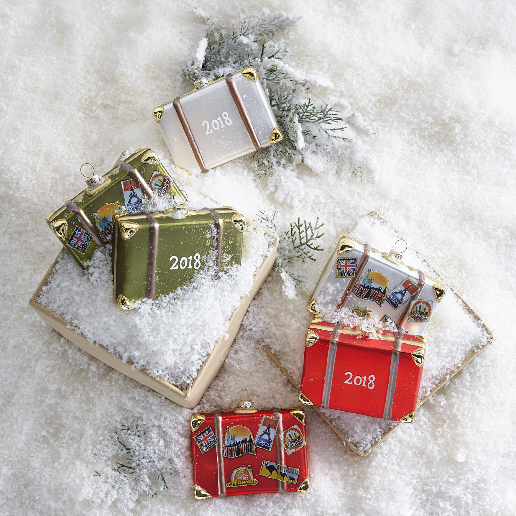 4' Luggage Ornaments, Set of 3,