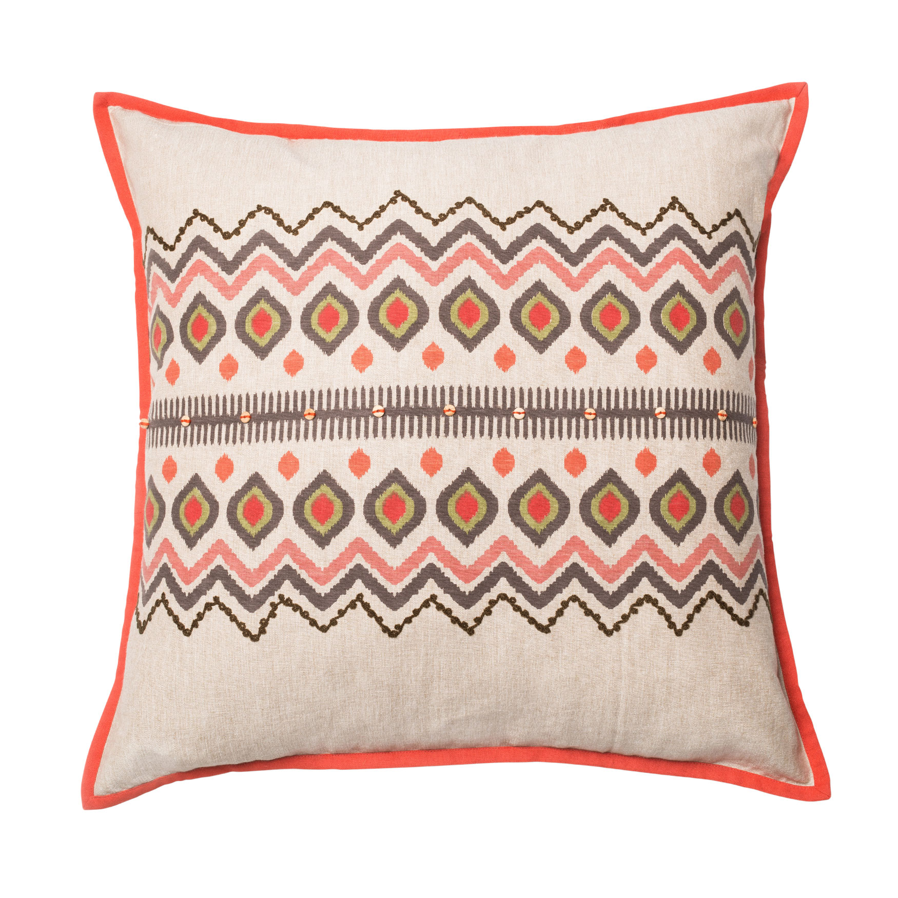 Aztec-Inspired Printed Pillow With Piping, RED NATURAL