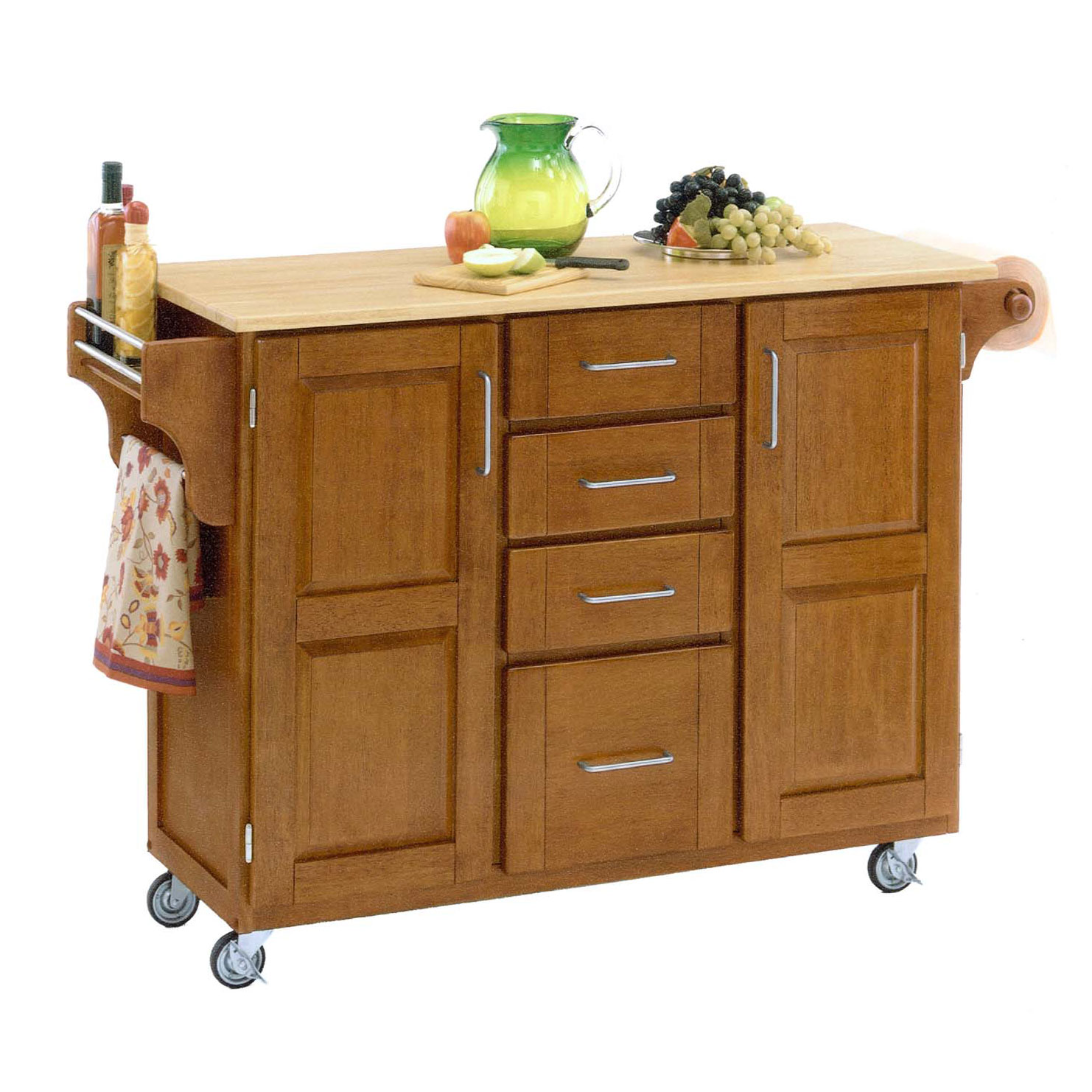 Large Cottage Oak Finish Create a Cart with Wood Top, OAK WOOD