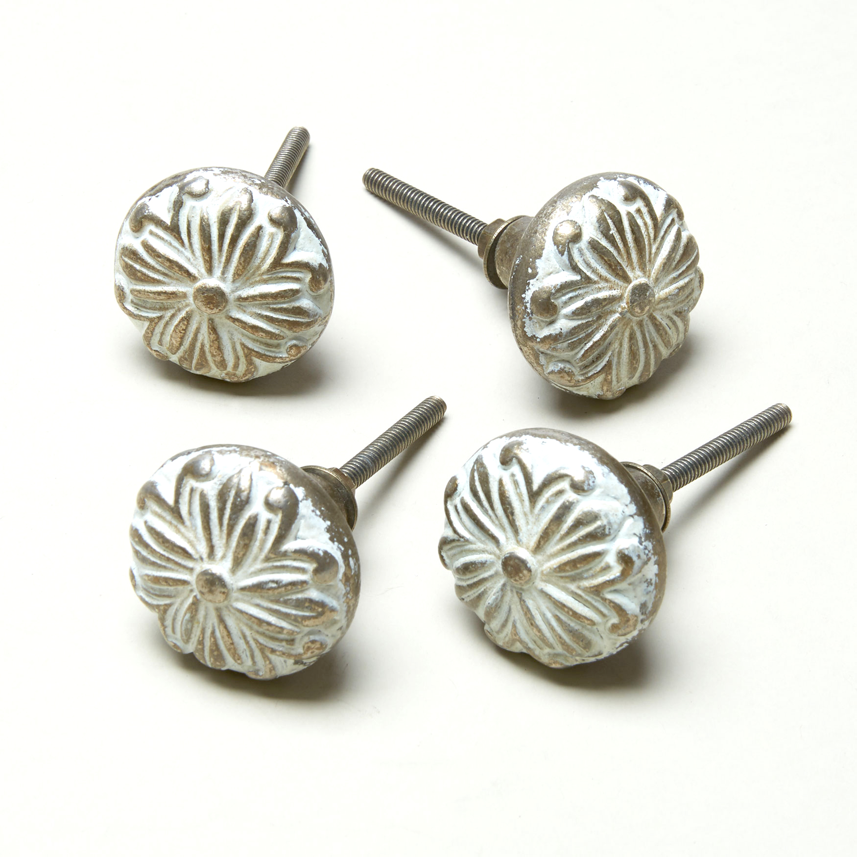 Assorted Vintage-Style Knobs, Set of 4 , WHITE GOLD