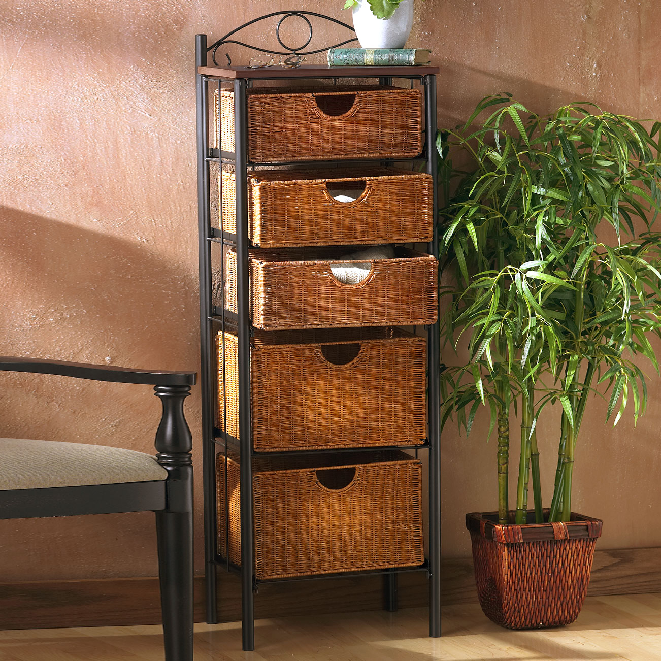 Iron/Wicker Five Drawer Unit, IRON