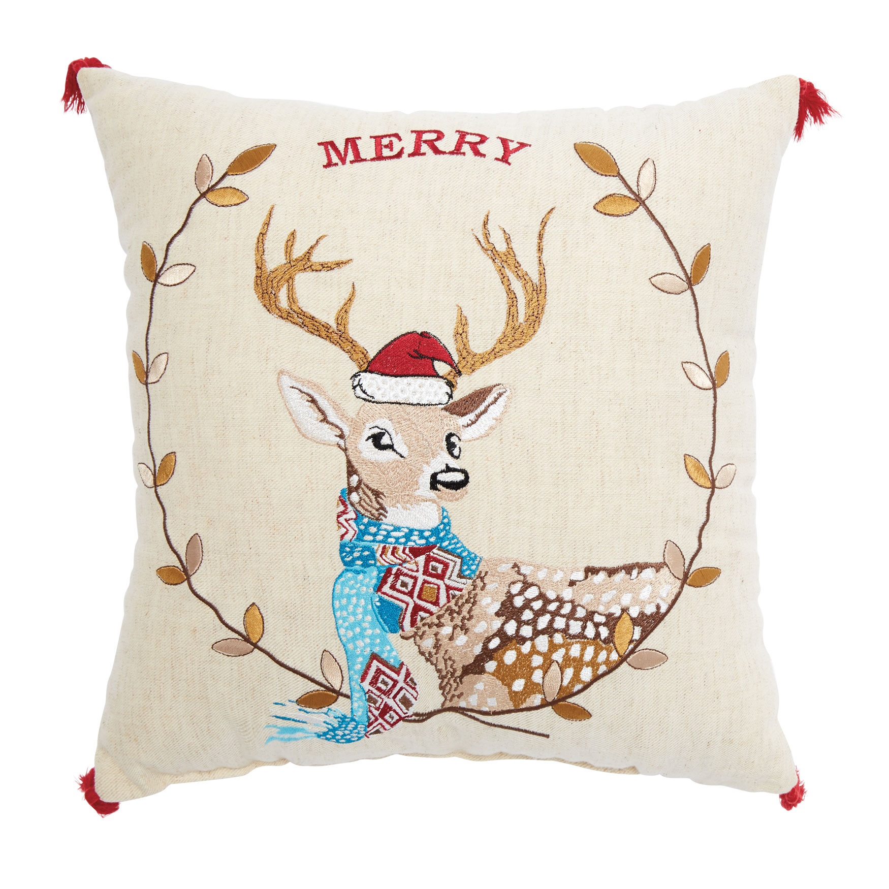 Merry Deer Decorative Pillow, MULTI