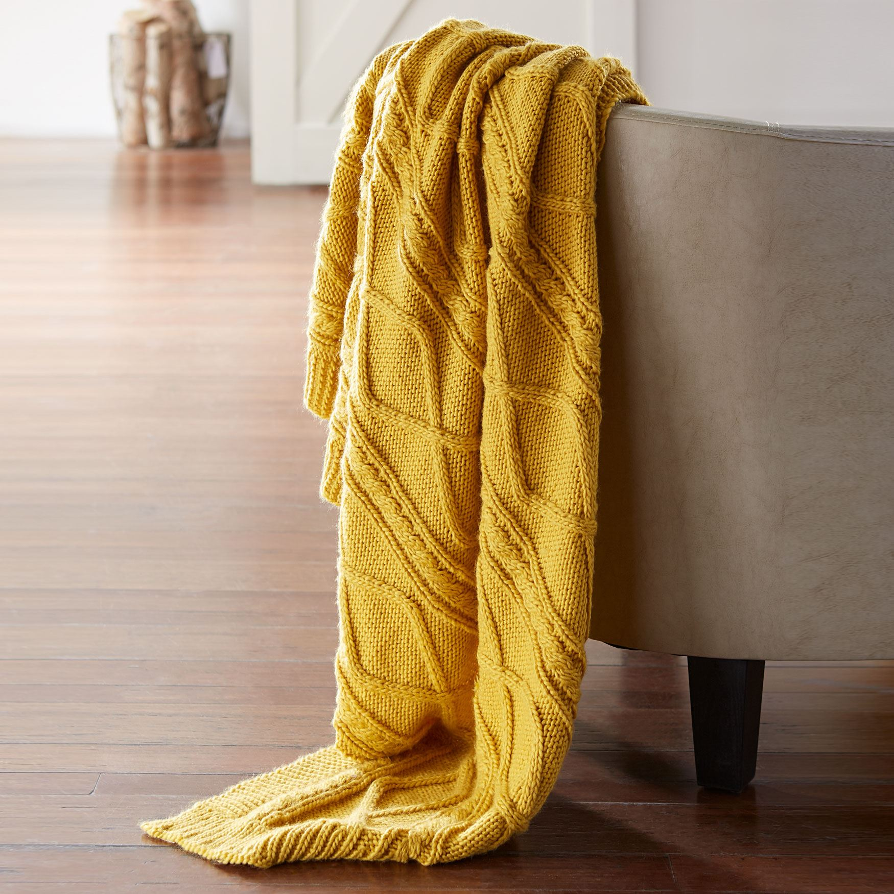 Blake Cable Knit Blanket, GOLD