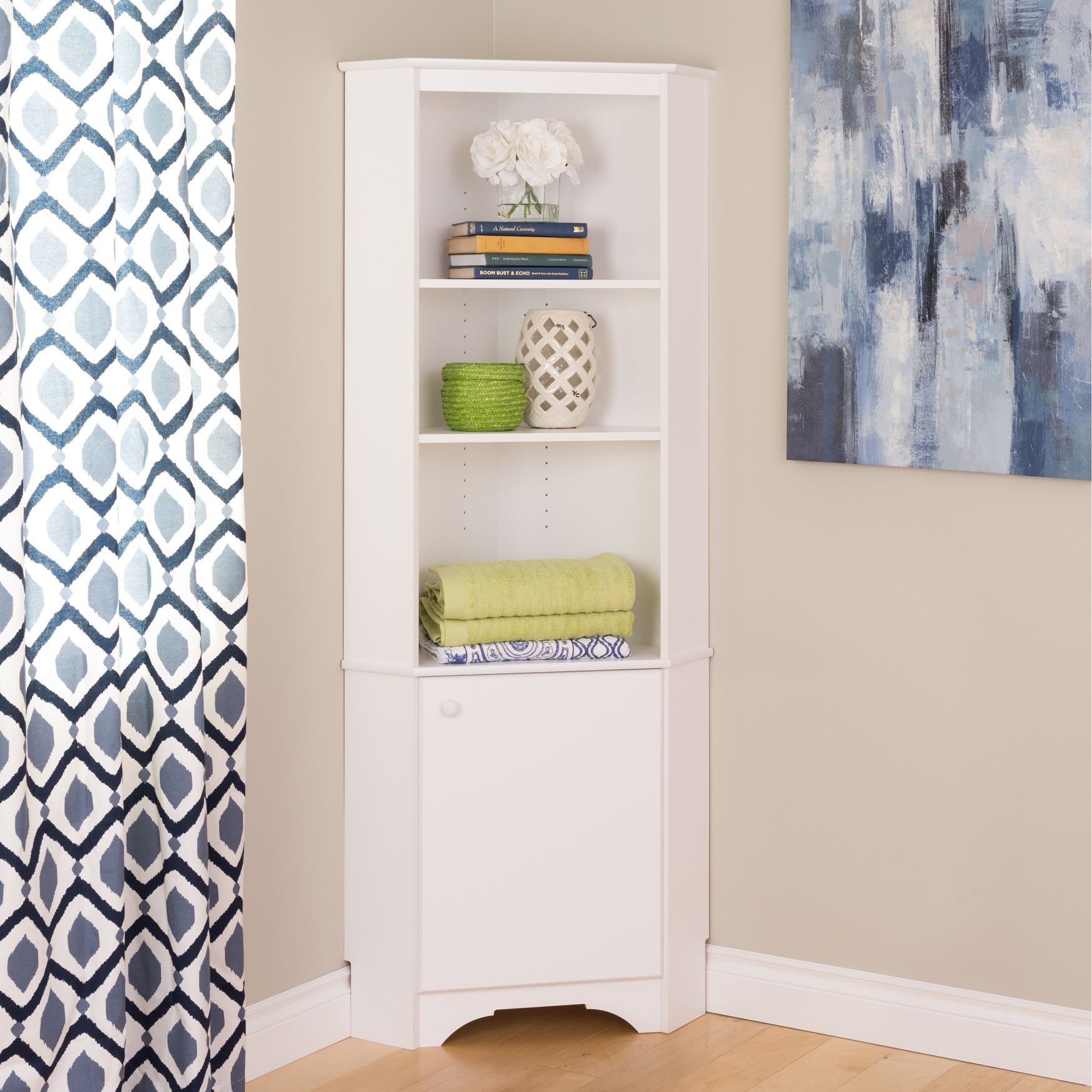 Elite White Tall 1-Door Corner Storage Cabinet, WHITE