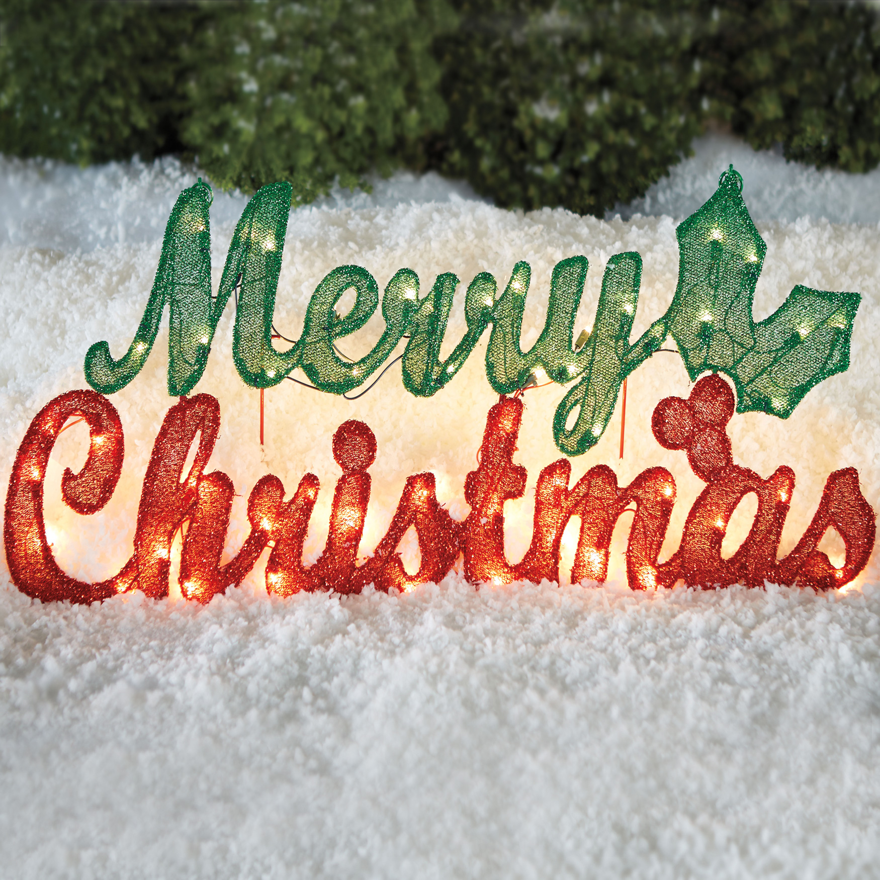 Pre Lit Merry Christmas Sign Red Green
