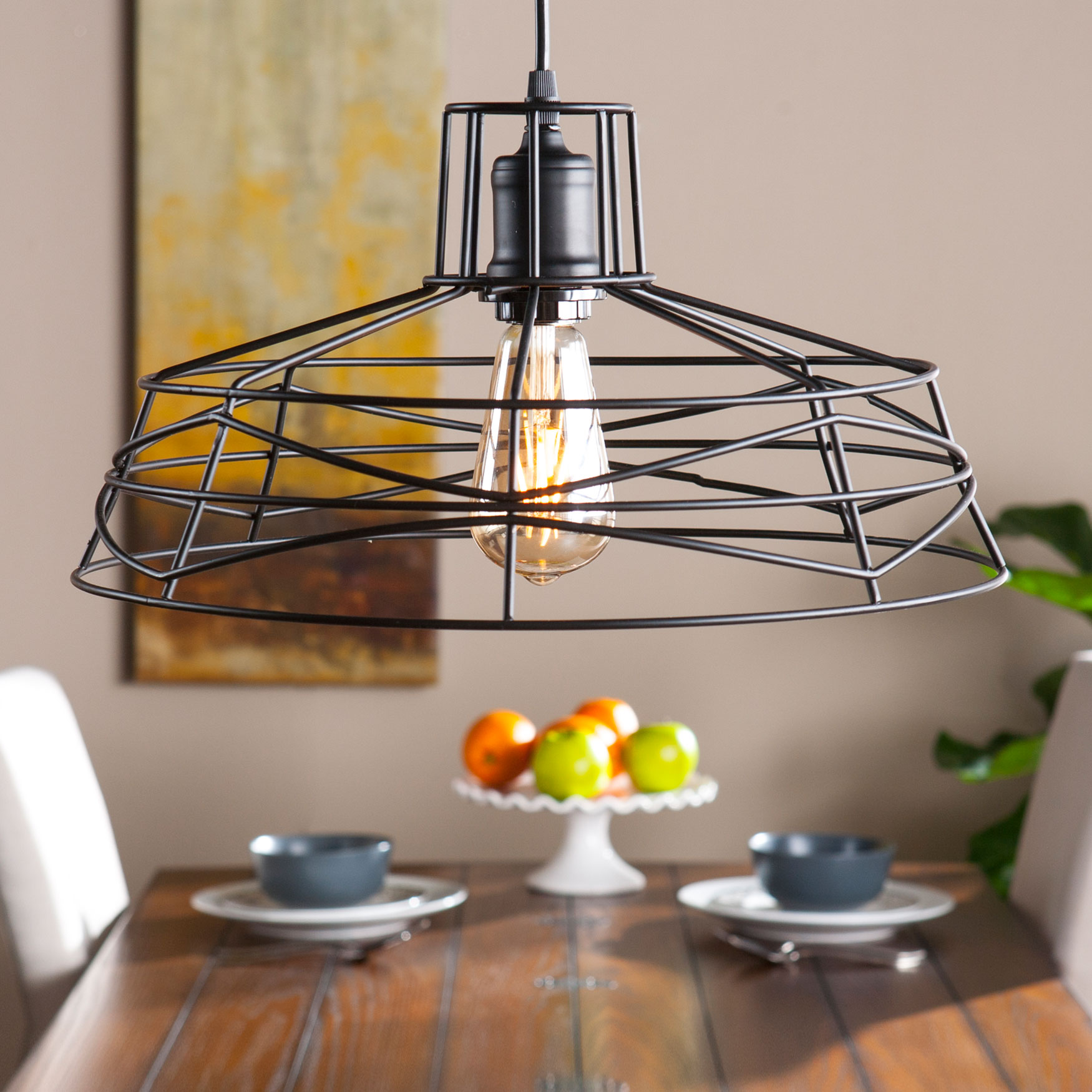 Geometric Wire Cage Pendant Lamp, MATTE BLACK