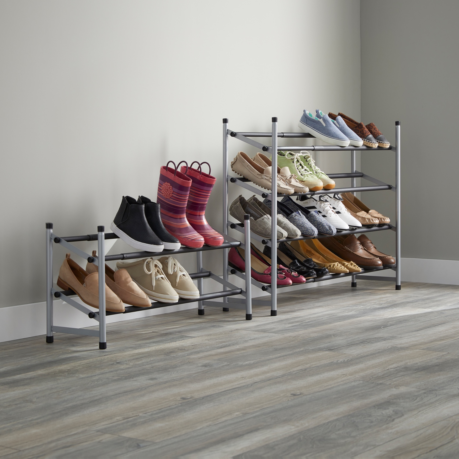 2-Tier Extendable Shoe Rack, SILVER BLACK