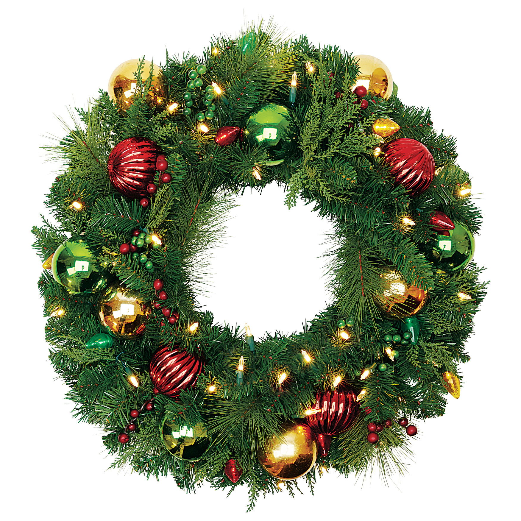 "26"" Pre-Lit Krystal Kringle Wreath, MULTI"