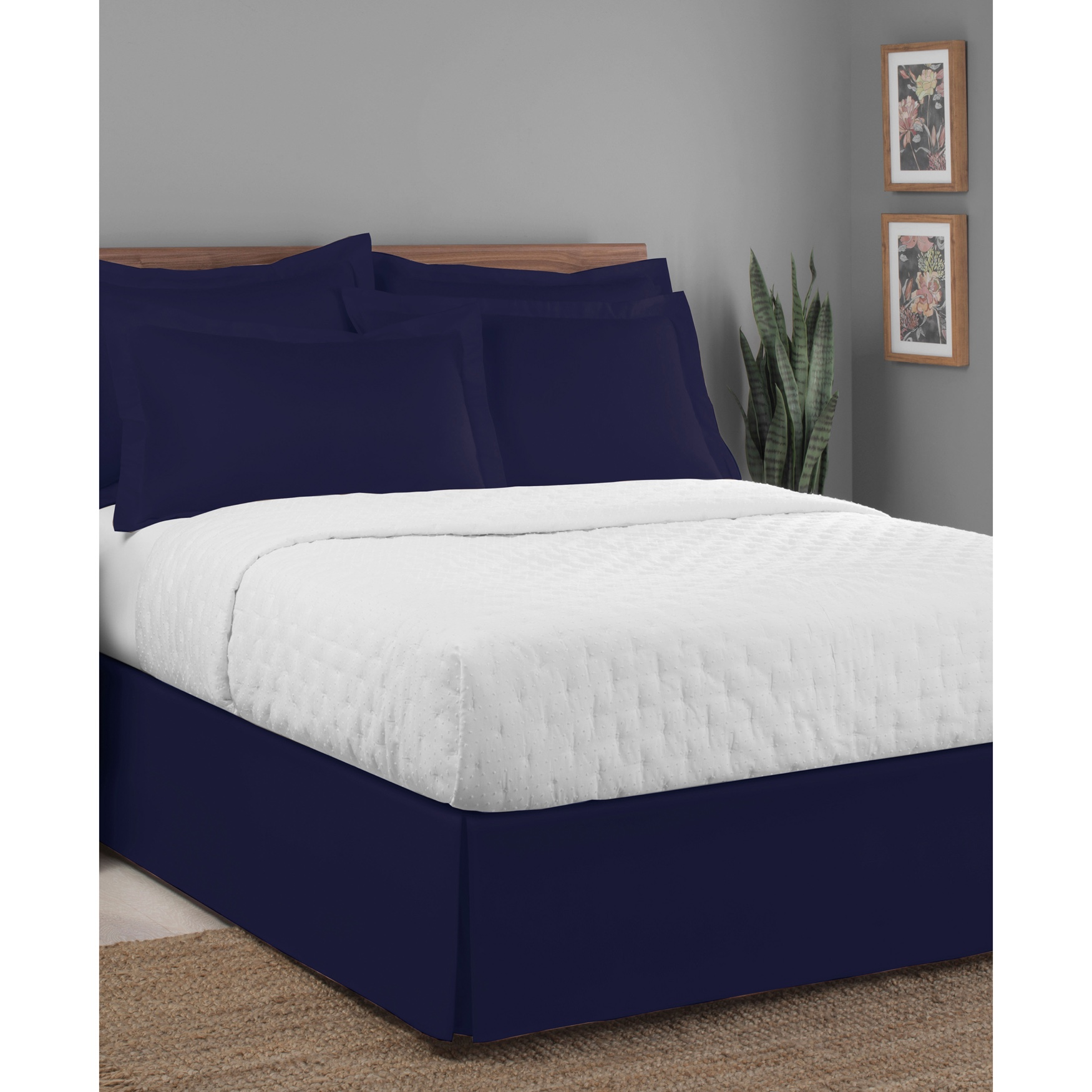 "Luxury Hotel Classic Tailored 14"" Drop Navy Bed Skirt,"