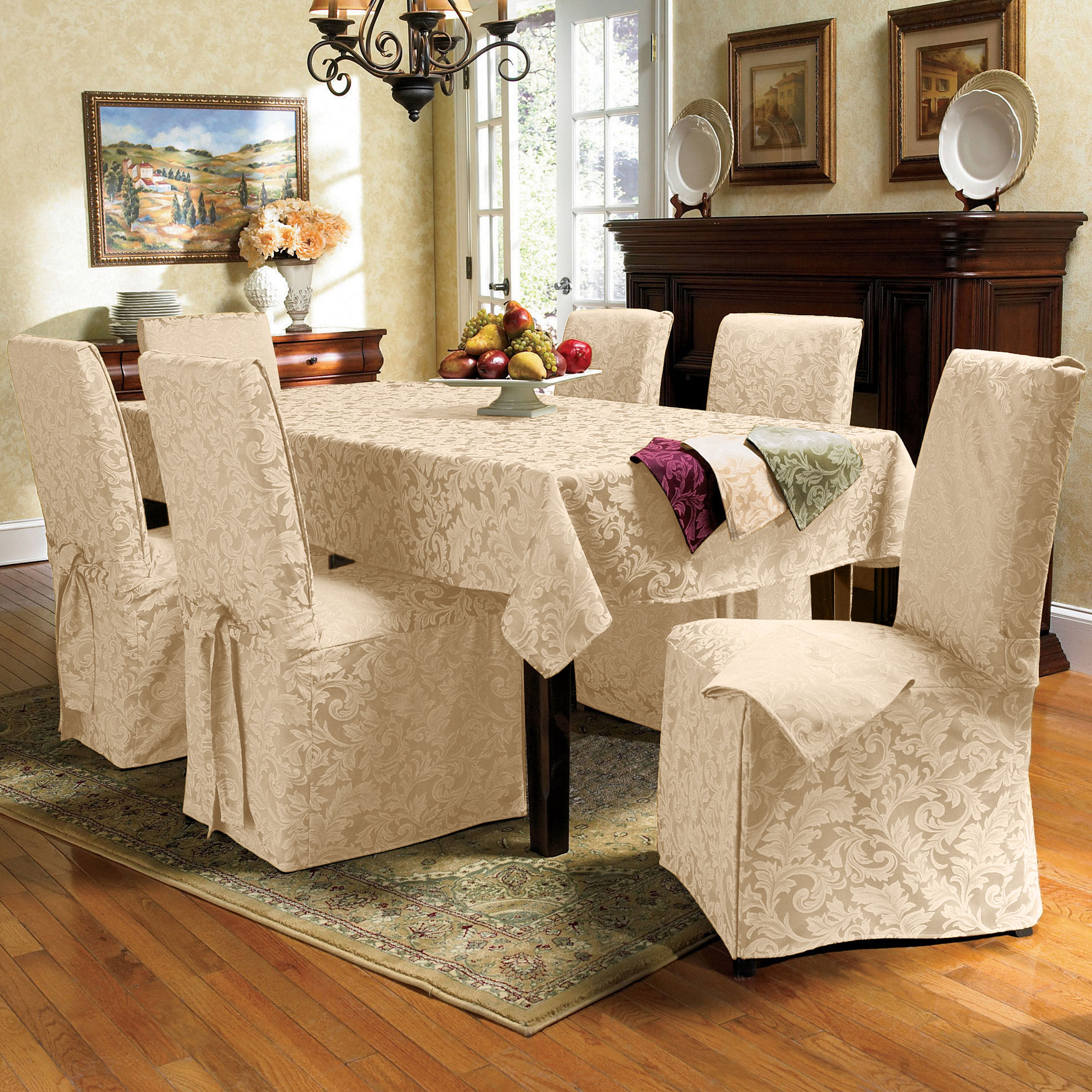 9-Pc. Round Damask Table Linen Set,