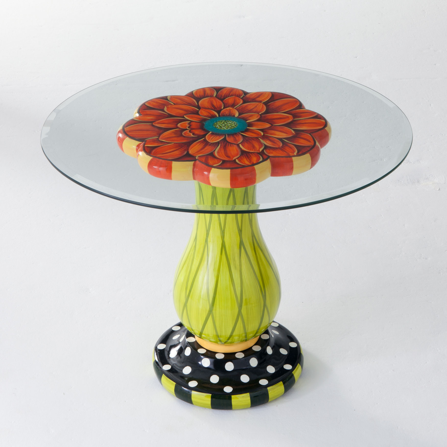 Glass-Top Flower Table, MULTI