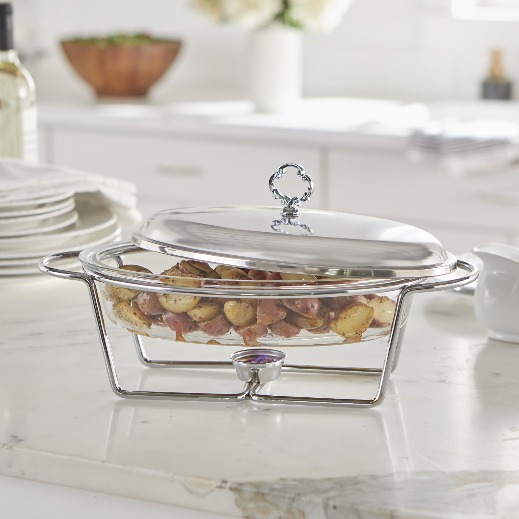 2.5-Qt. Oval Glass Chafing Dish, STAINLESS