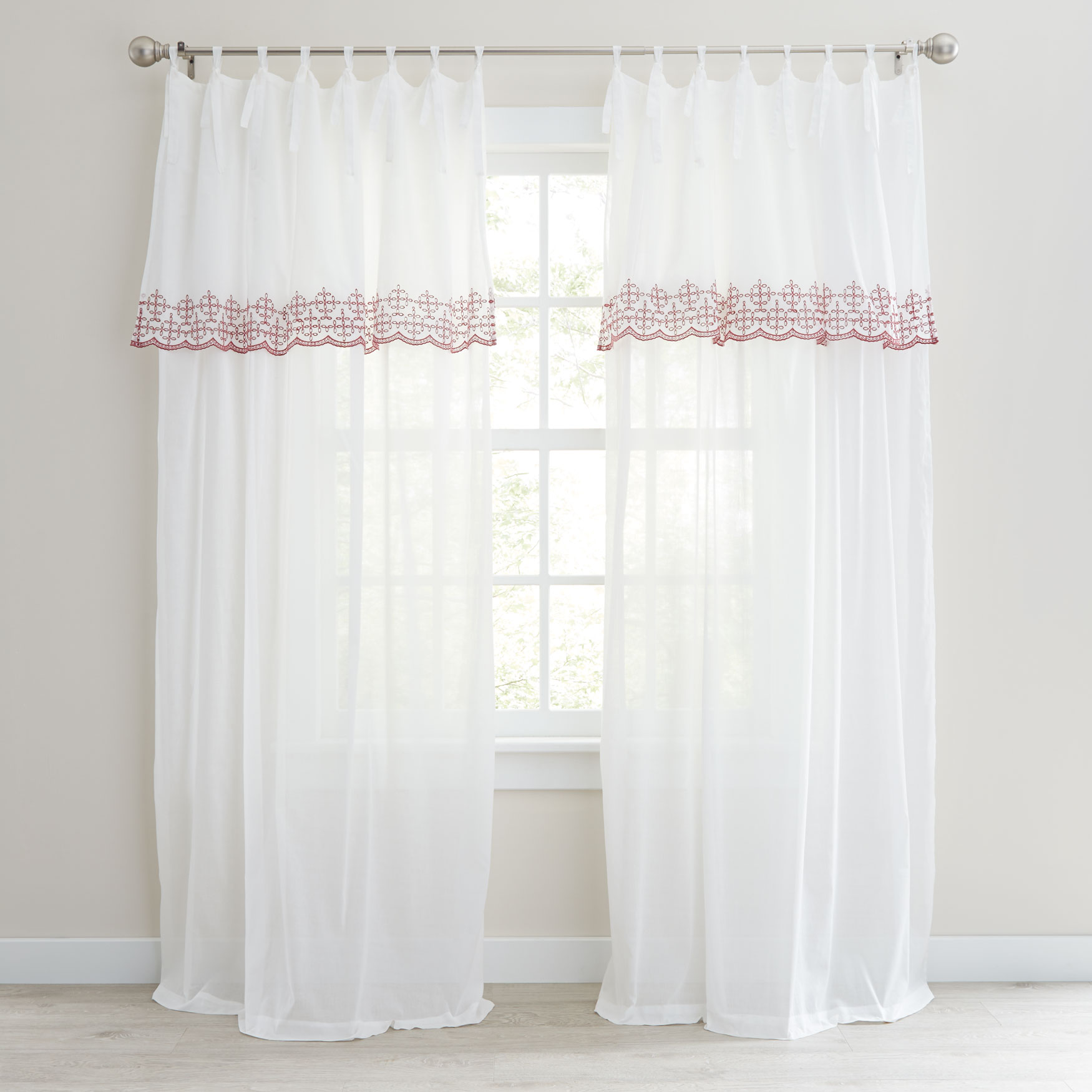 Rosalie Tie-Top Embroidered Panel with Attached Valance,