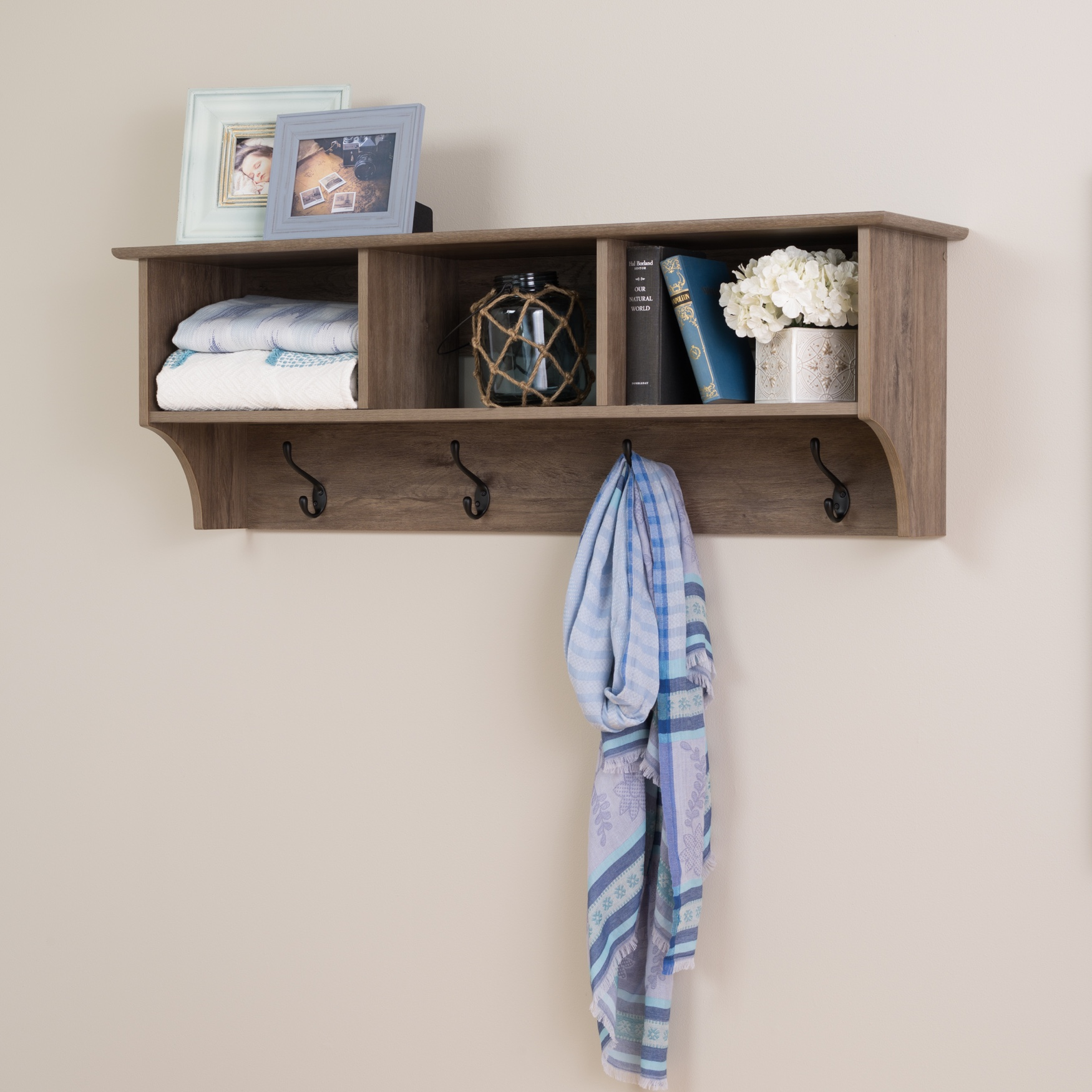 "48"" Wide Hanging Entryway Shelf, Drifted Gray, GRAY"