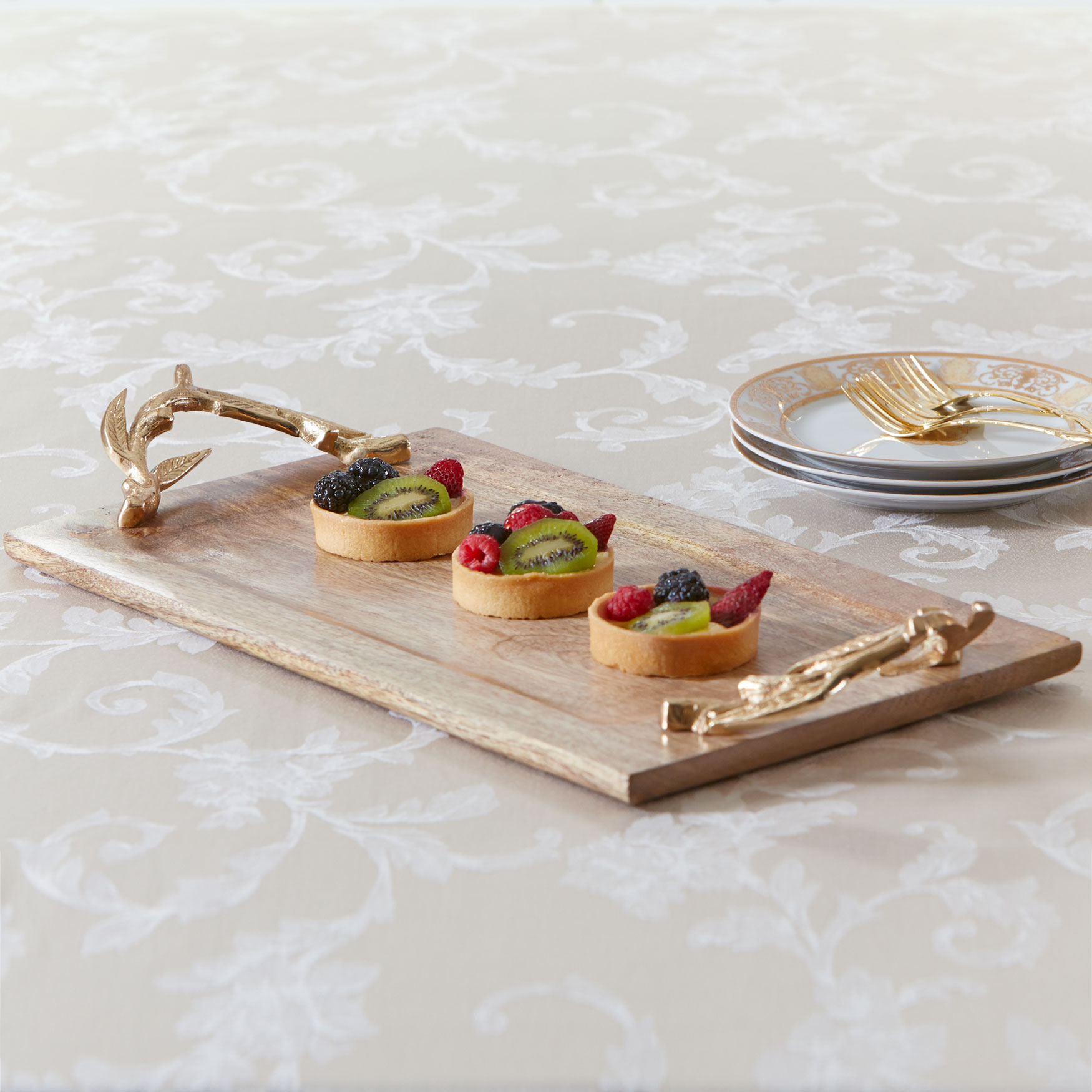 Rectangular Wood Tray with Gold Handles, NATURAL GOLD