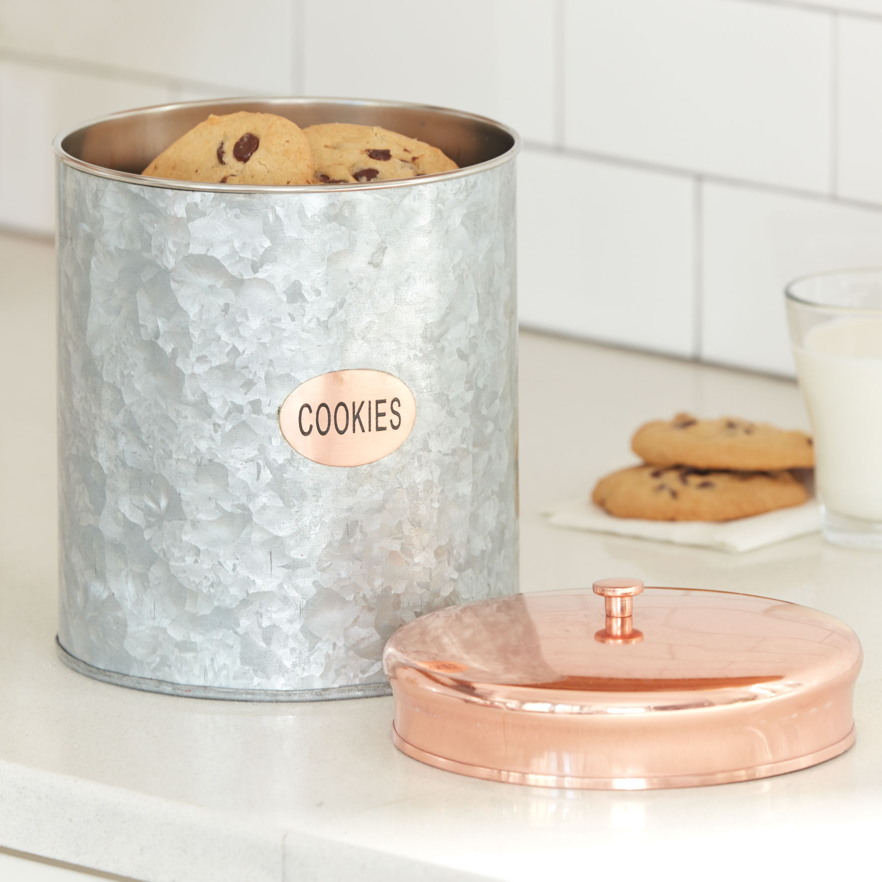 Large Galvanized Metal Cookie Canister, COPPER