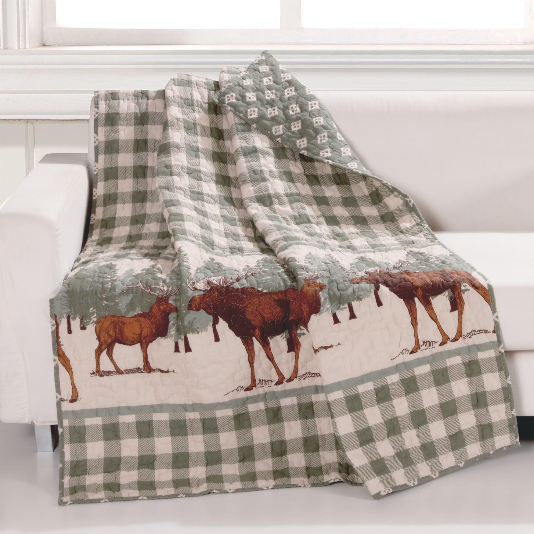 Greenland Home Fashions Moose Creek Quilted Throw Blanket, MULTI