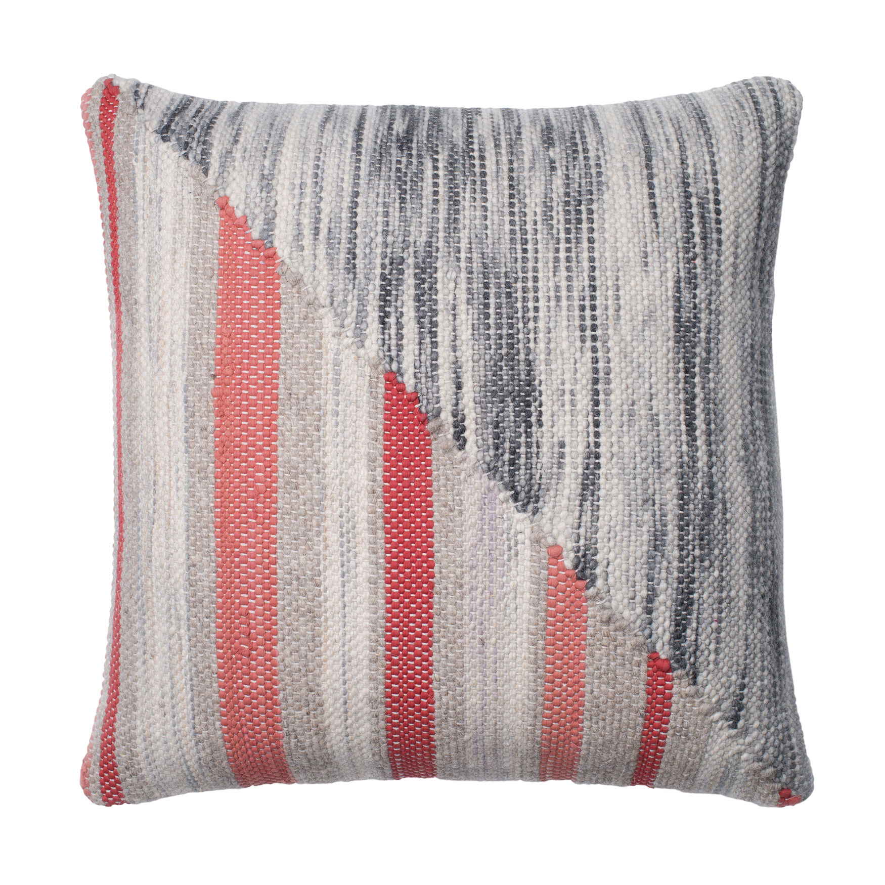 Woven Sliced Stripe Decorative Pillow, GREY CORAL