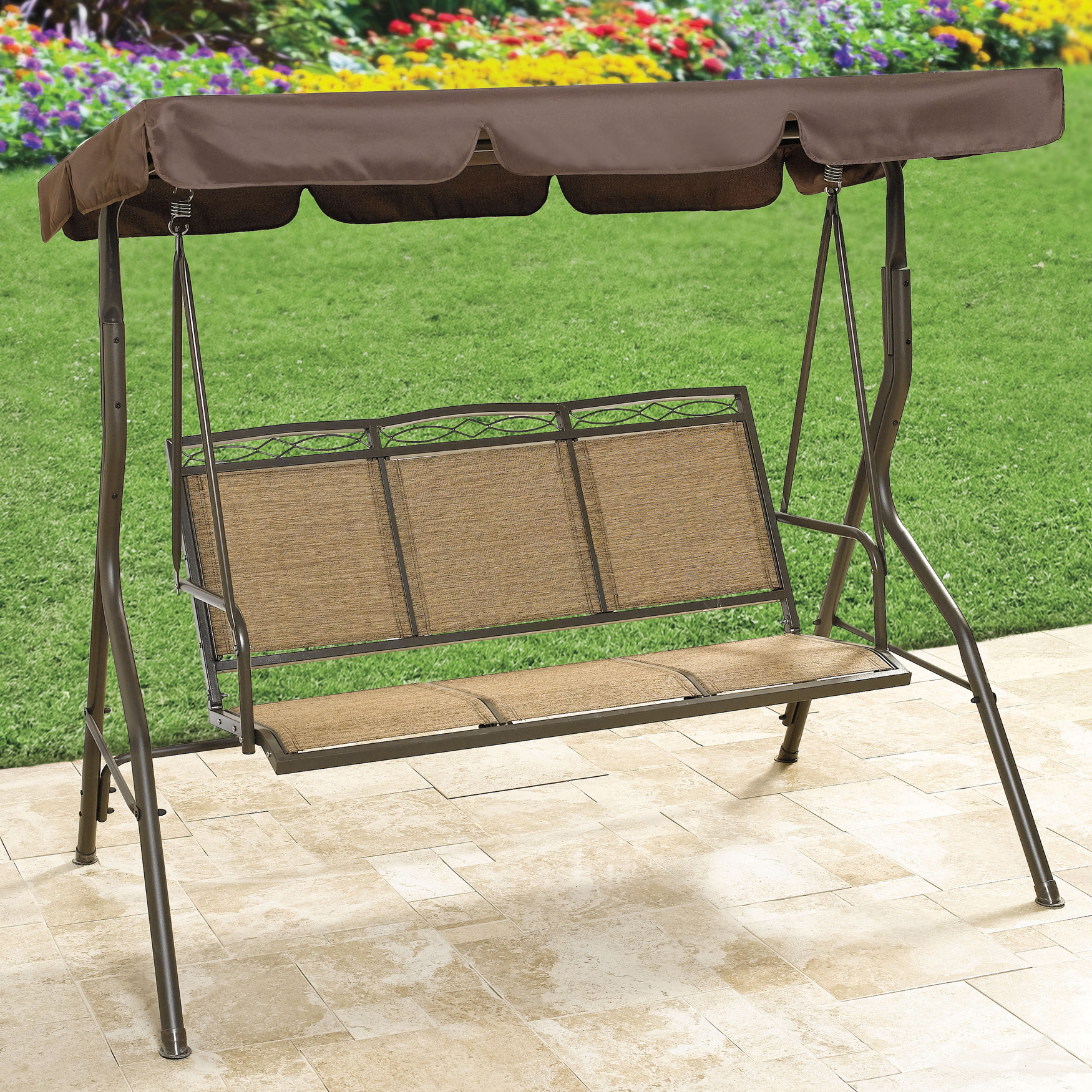 Extra Wide Textured Vinyl 3-Seat Swing, TAUPE