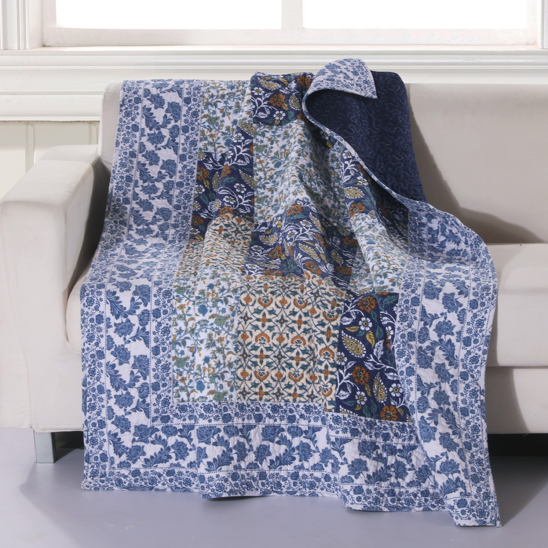 Greenland Home Fashions Pandora Quilted Patchwork Throw Blanket, MULTI