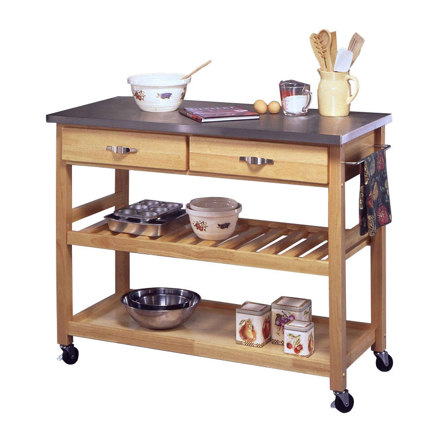 Kitchen Cart with Stainless Steel Top, STAINLESS STEEL WOOD