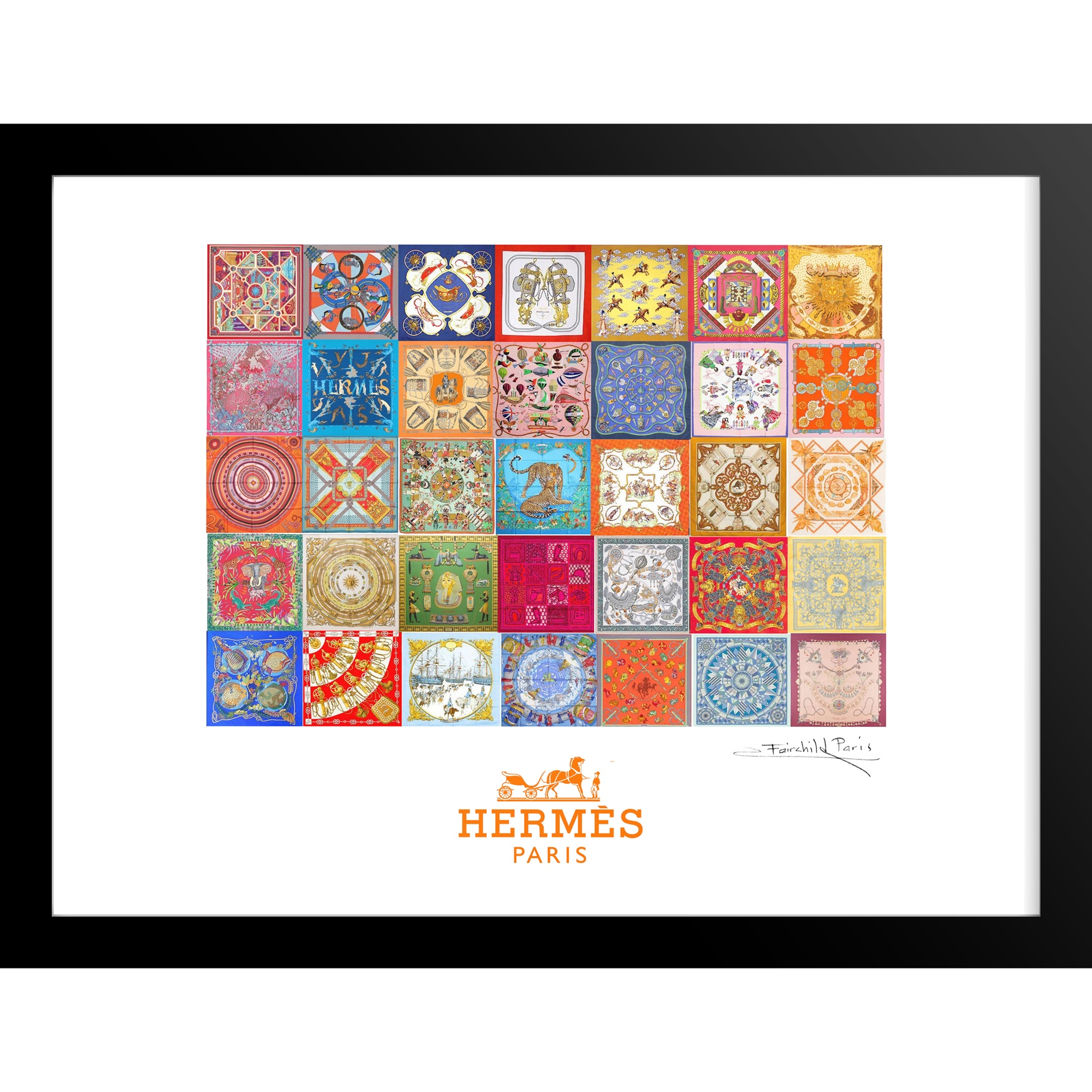 Hermes Tiles 14x18 Framed Print, MULTI