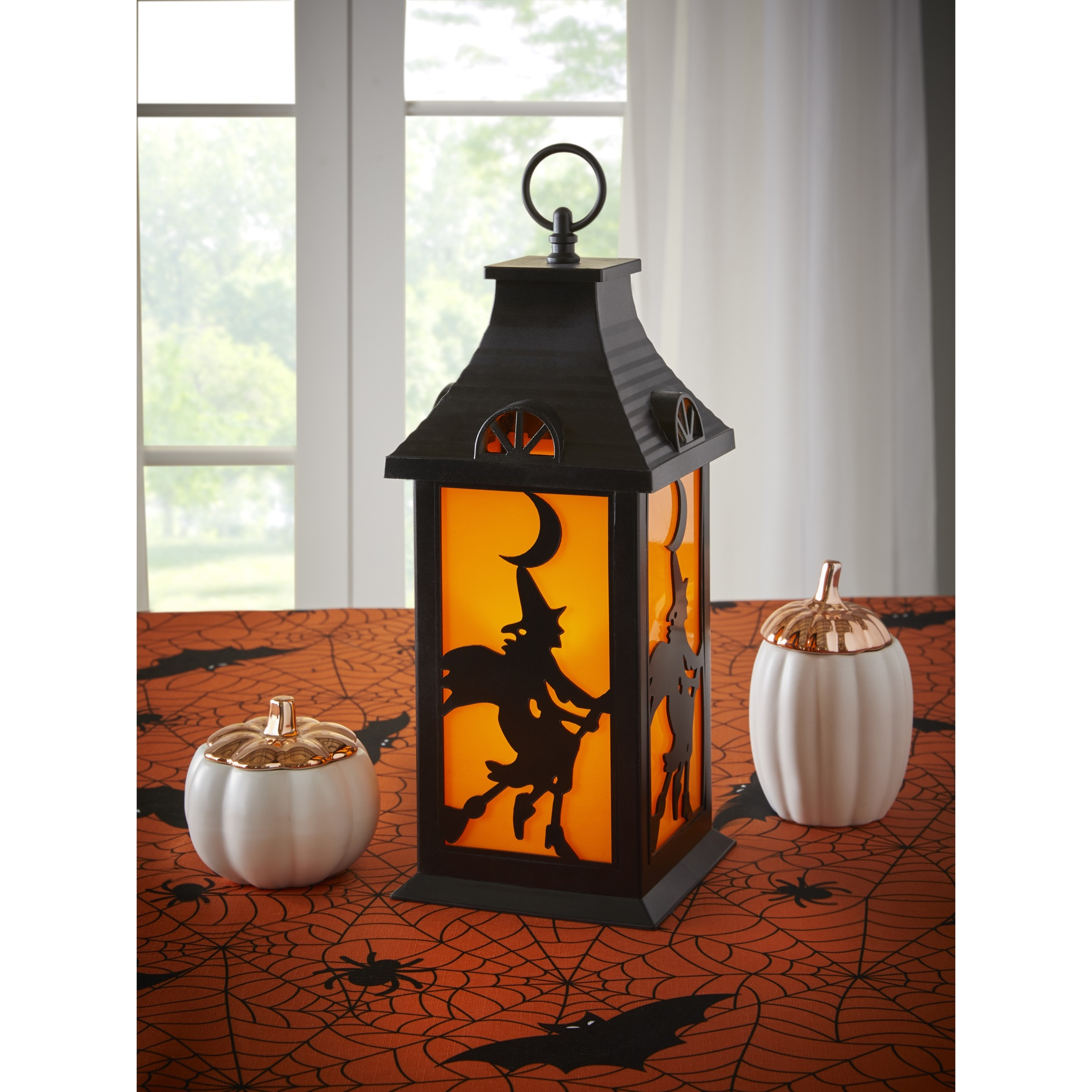 "13""H Witches Lantern, BLACK ORANGE"