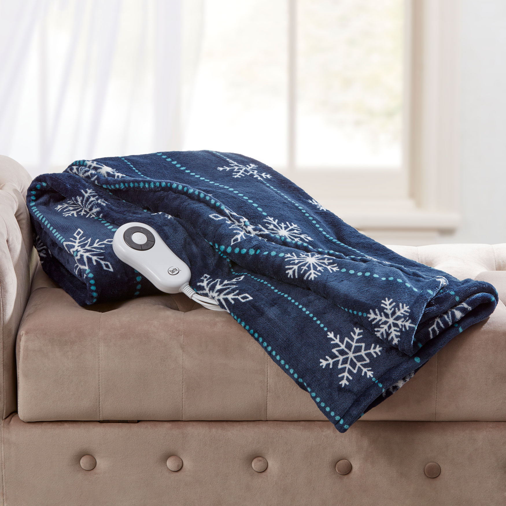 Snowflake Electric Warming Throw by Serta, NAVY
