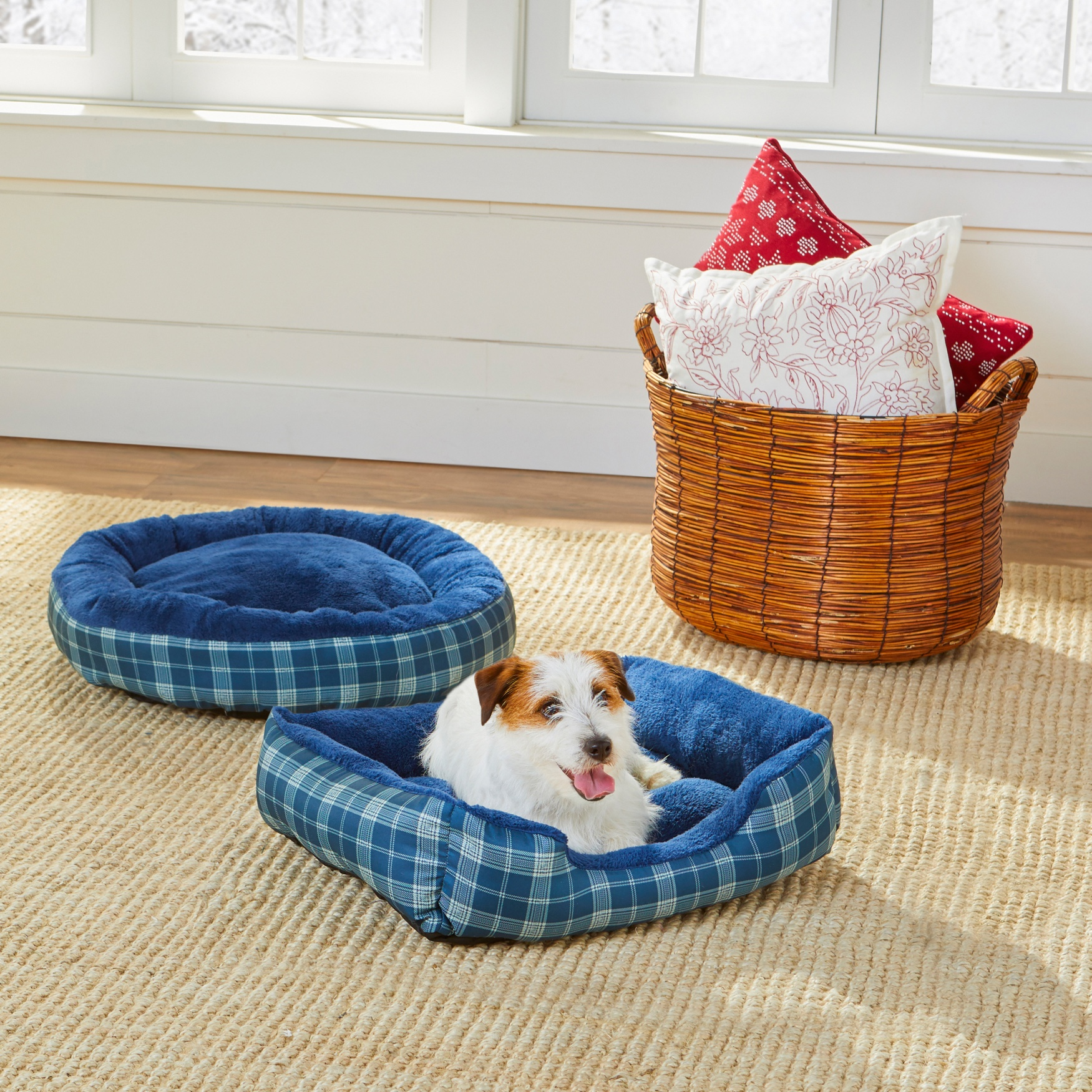 Leopard Print Cuddler Pet Bed, BLUE PLAID
