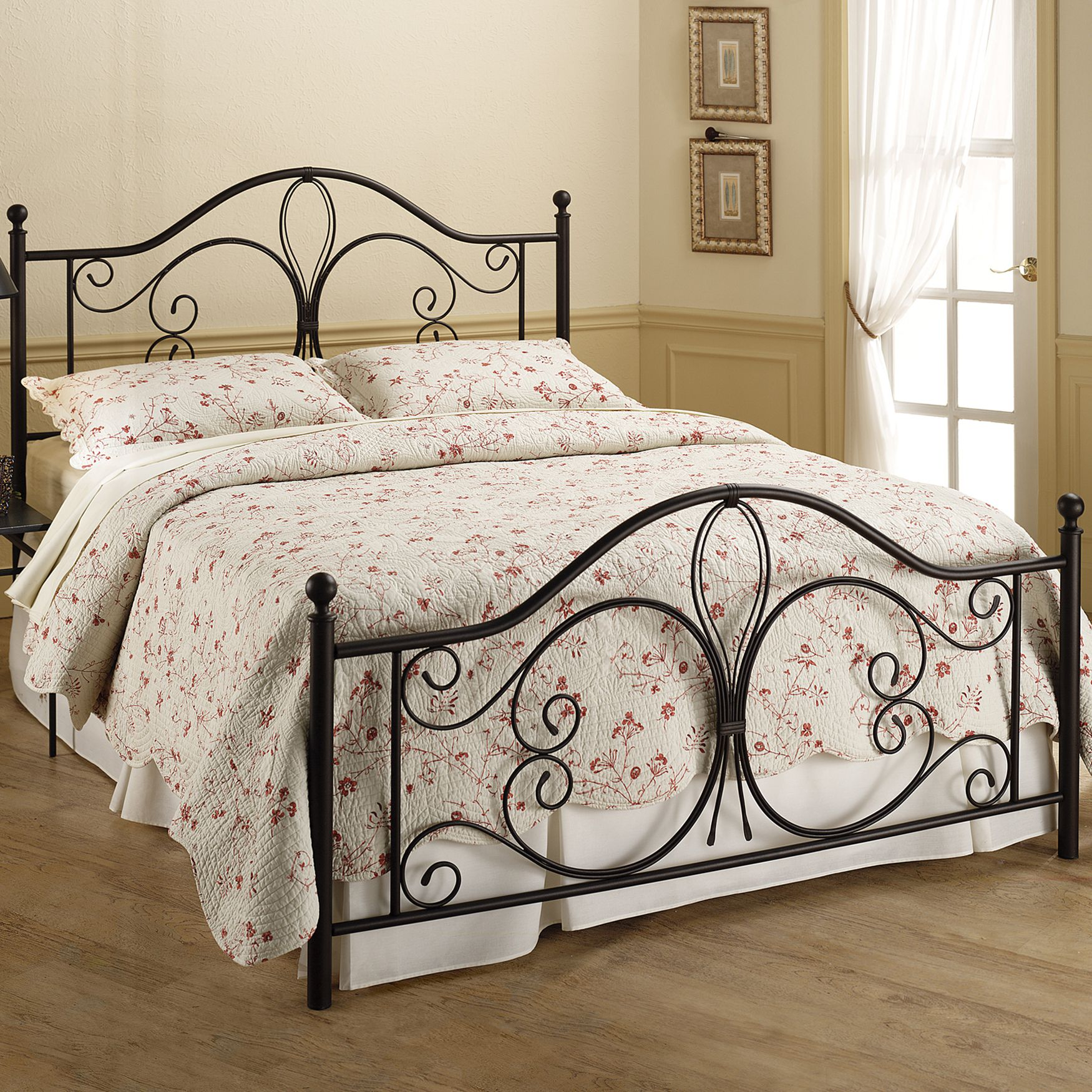 "Twin Bed Set with Bed Frame, 76""Lx40½""Wx49½""H, ANTIQUE BROWN"