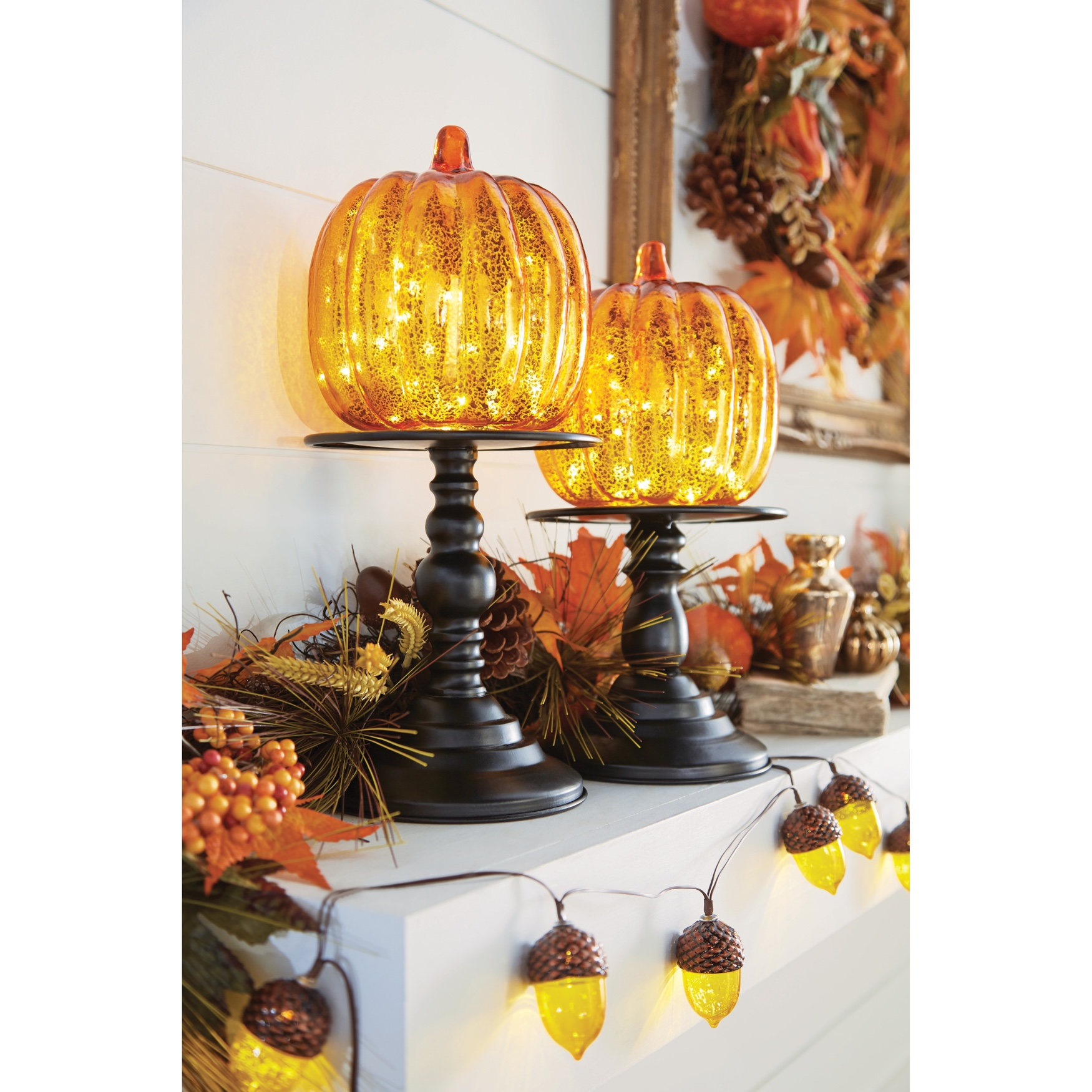 "16"" Pre-Lit Glass Pumpkin on Metal Stand,"