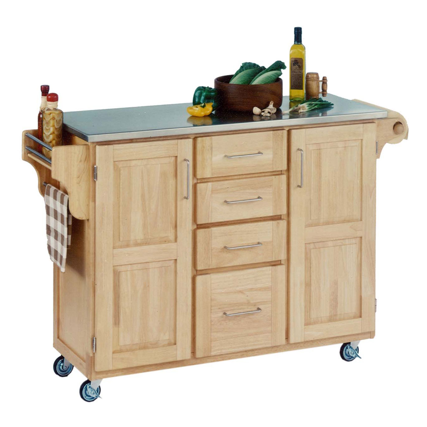 Large Natural Finish Create a Cart with Stainless Steel Top , NATURAL STAINLESS STEEL
