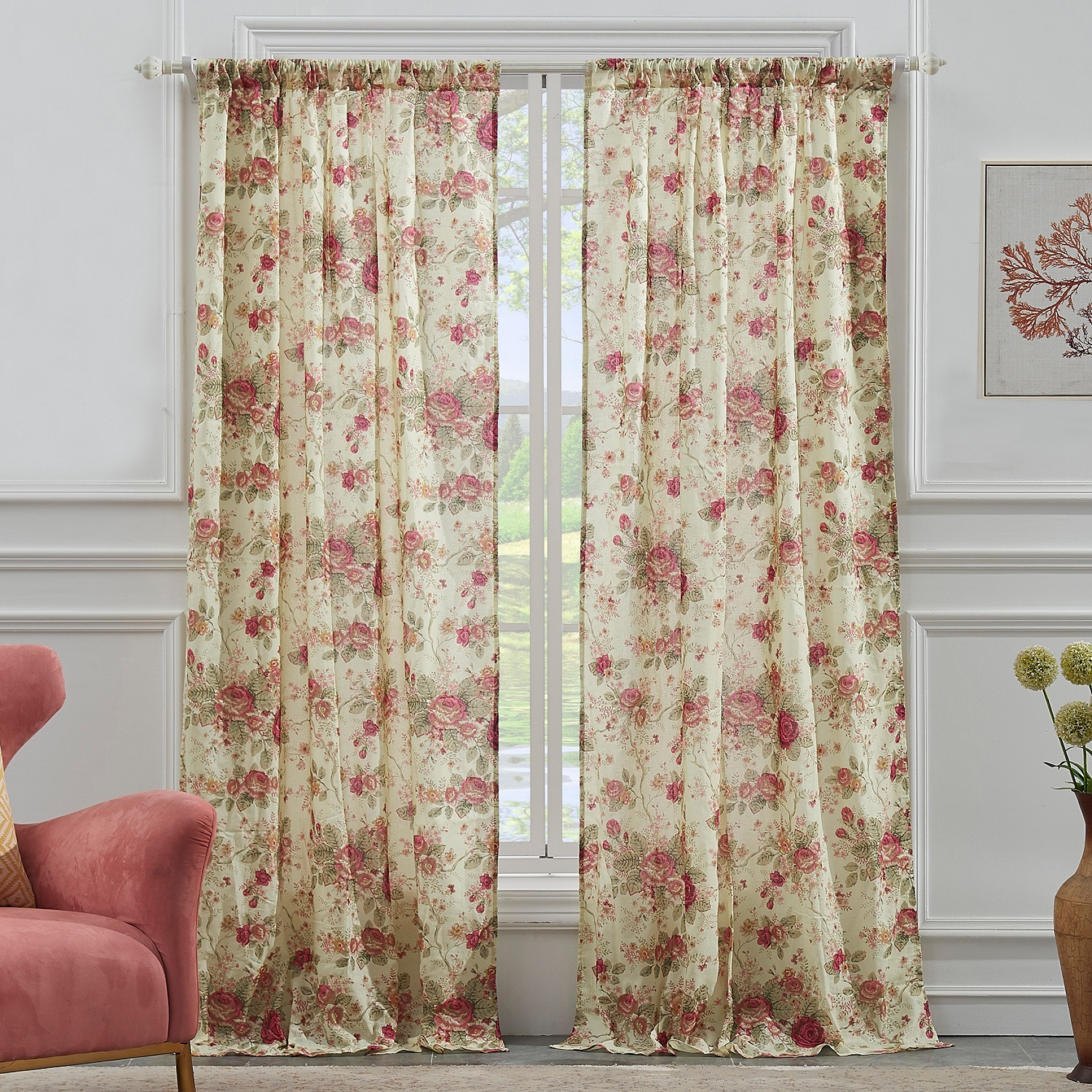 Antique Rose Curtain Panel Pair by Greenland Home Fashions, MULTI