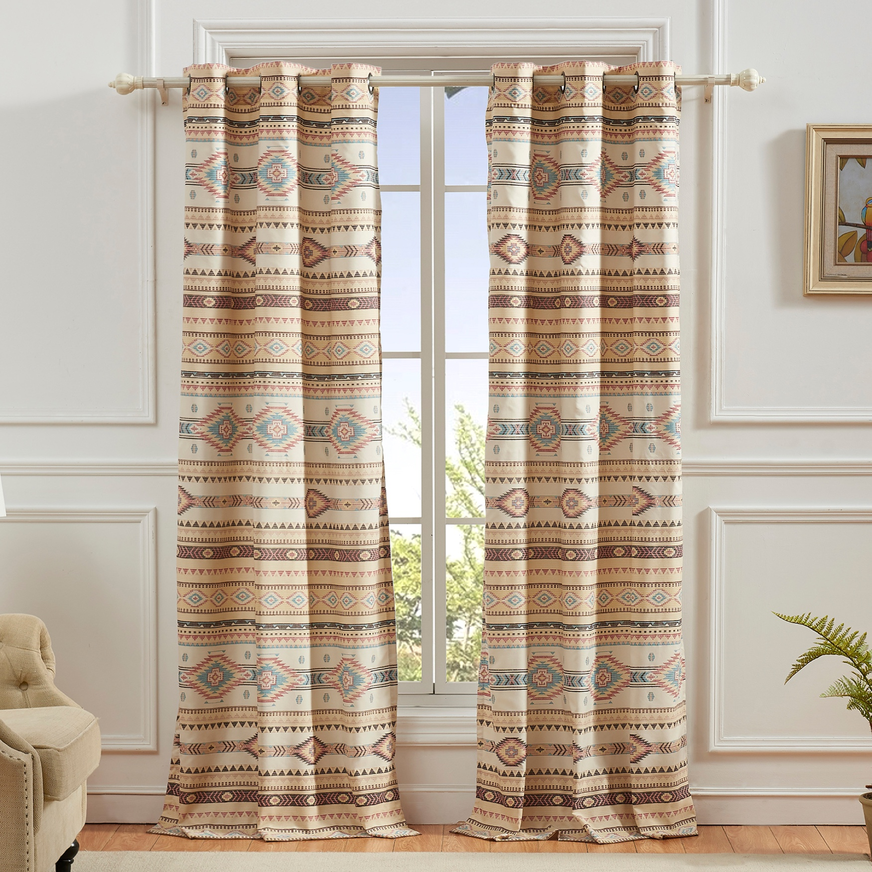Phoenix Tan Curtain Panel Pair by Barefoot Bungalow, TAN