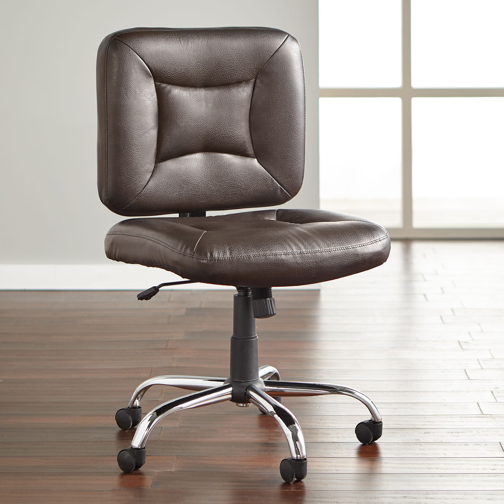 Armless Office Chair, BROWN