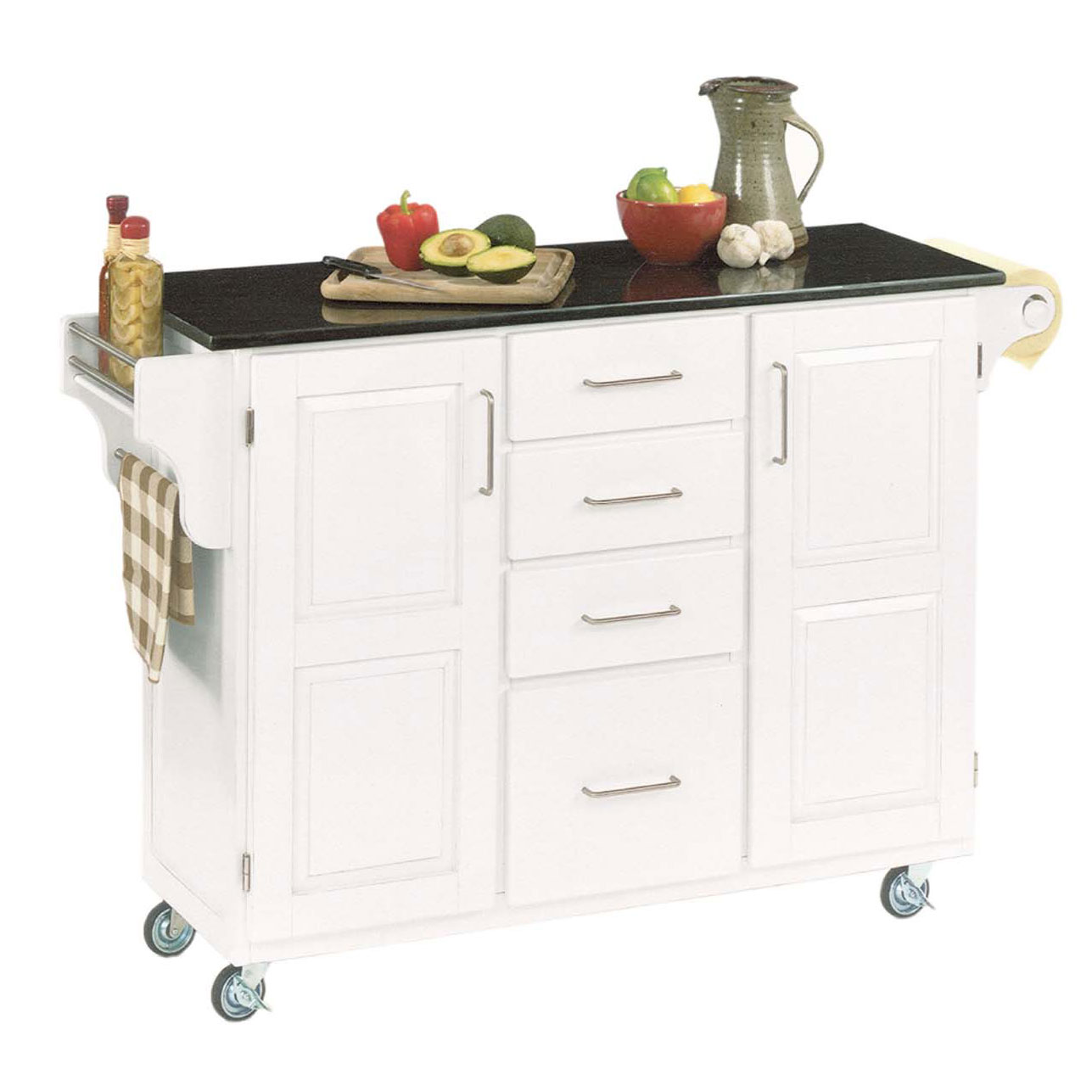 Large White Finish Create a Cart with Black Granite Top ...