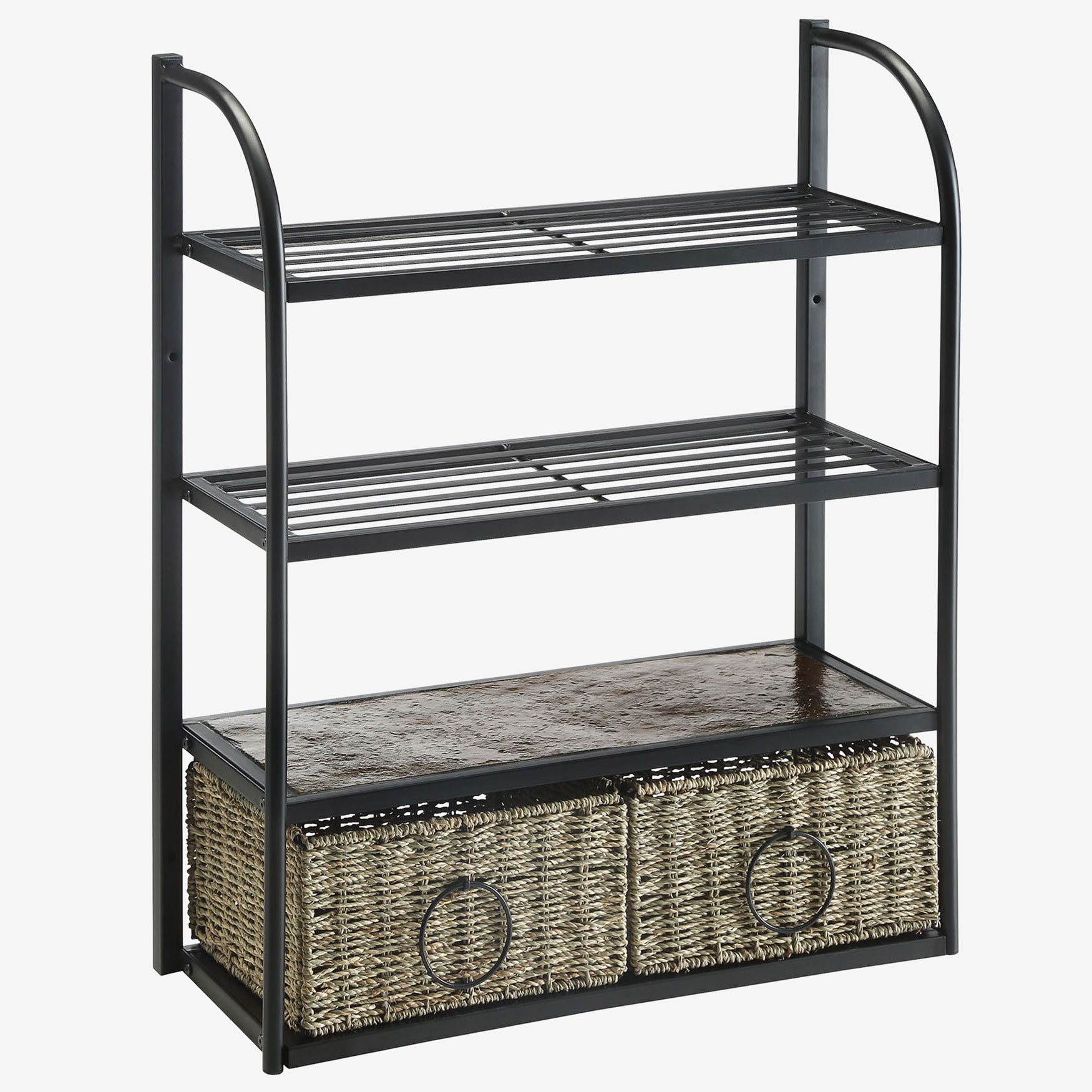 Windsor Storage Unit with 2 Baskets, BLACK METAL