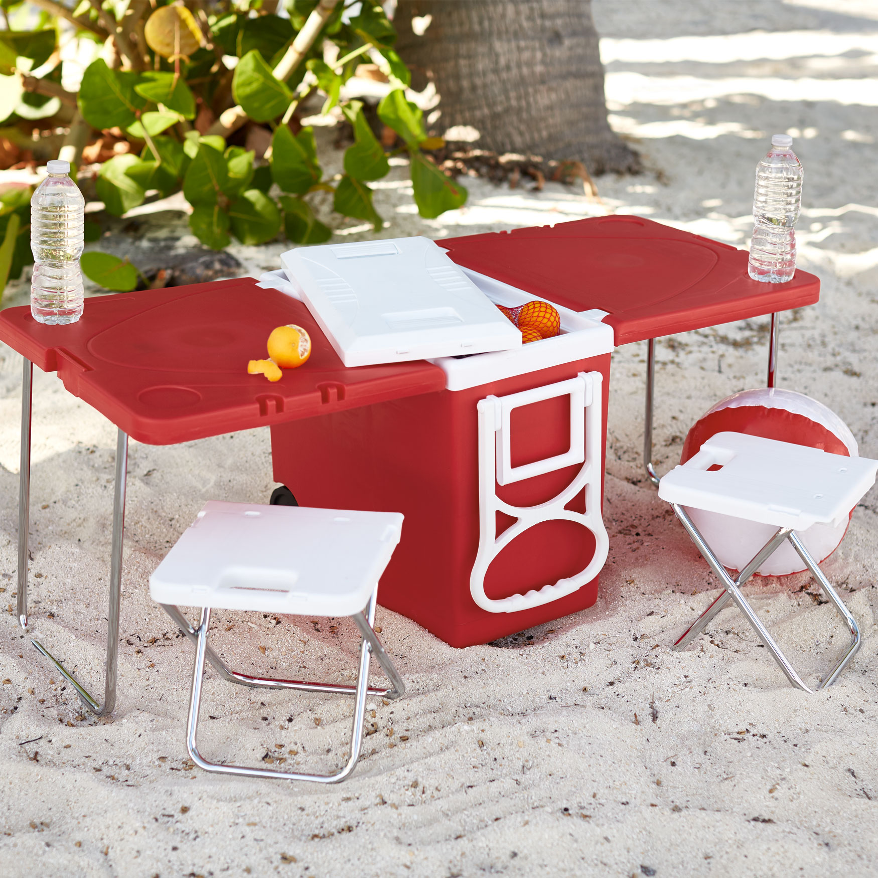 Rolling Picnic Cooler with 2 Stools, RED